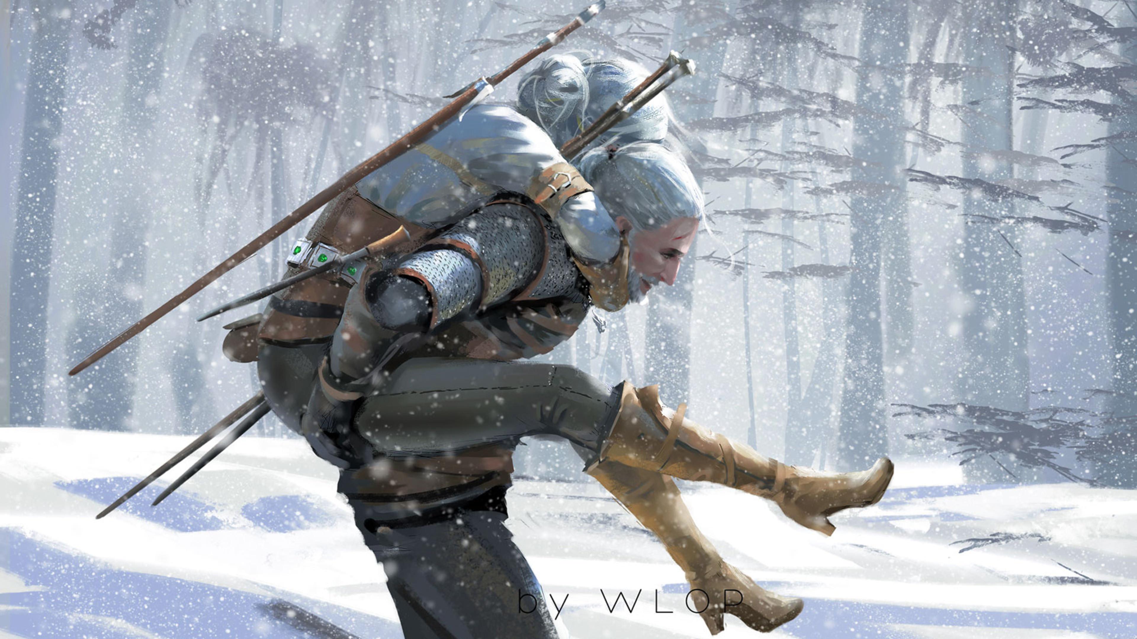 General 3840x2160 WLOP The Witcher video games Geralt of Rivia snow white hair artwork digital art men women trees piggyback Cirilla Fiona Elen Riannon