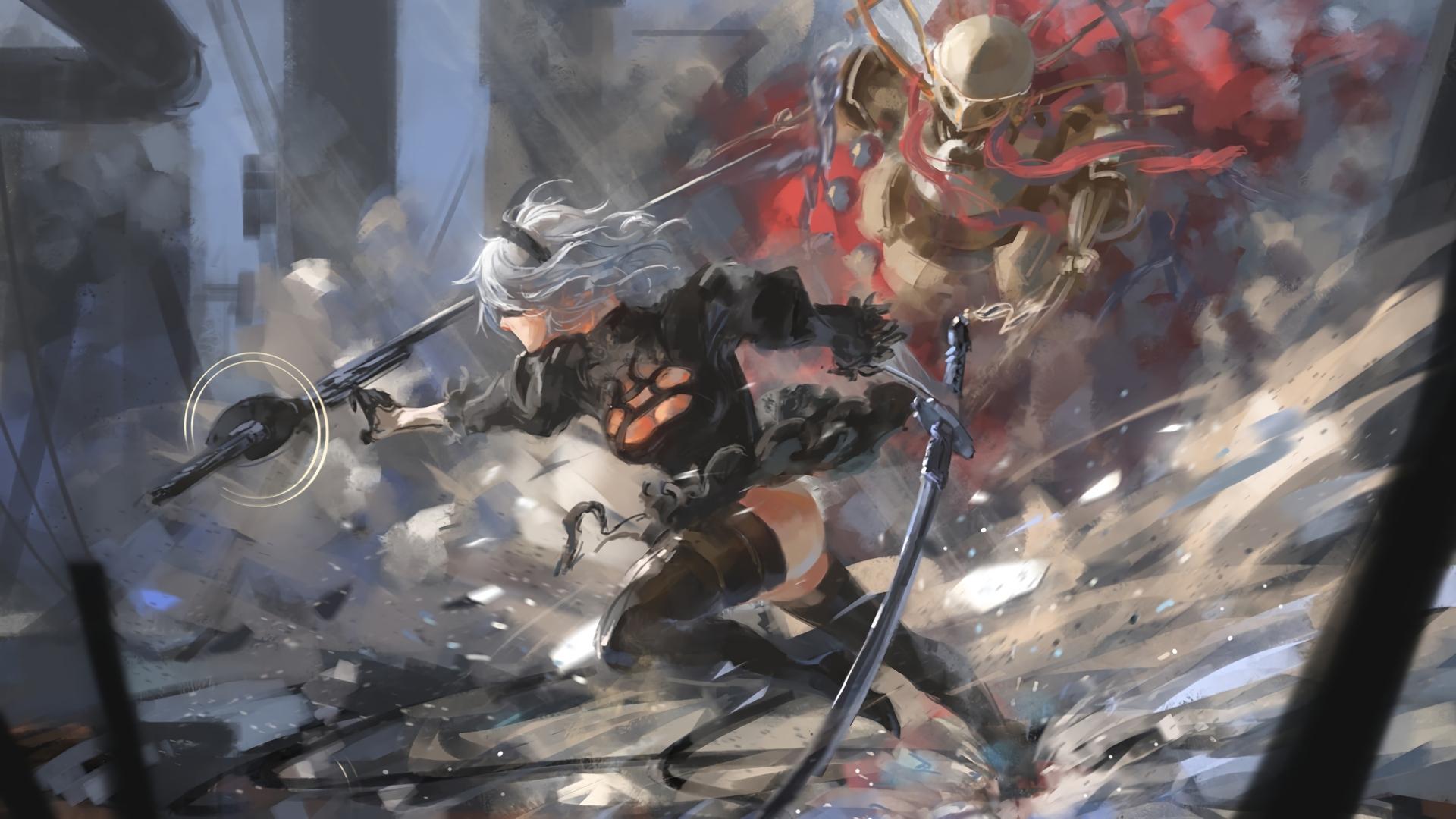 Anime 1920x1080 Nier: Automata video games women 2B NieR white hair cleavage thighs thigh-highs katana machine digital art artwork 2B (Nier: Automata)