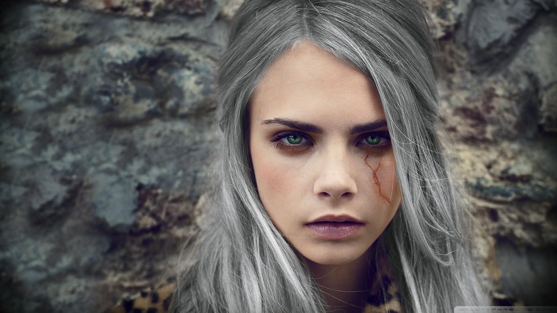 People 1920x1080 The Witcher 3: Wild Hunt cosplay Cara Delevingne women face portrait green eyes scars beige Ciri Cirilla