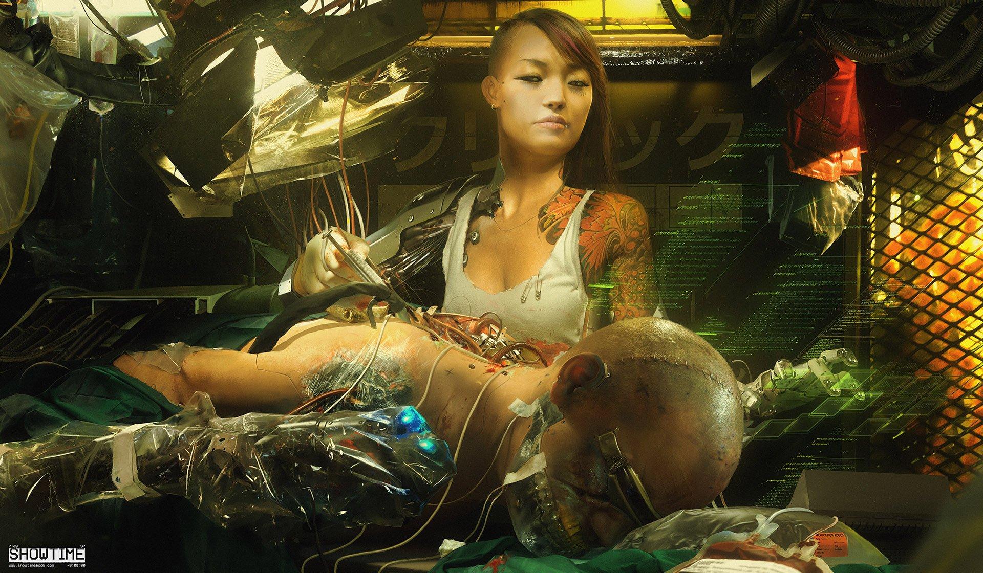 General 1920x1120 cyberpunk tattoo robot women inked girls science fiction futuristic