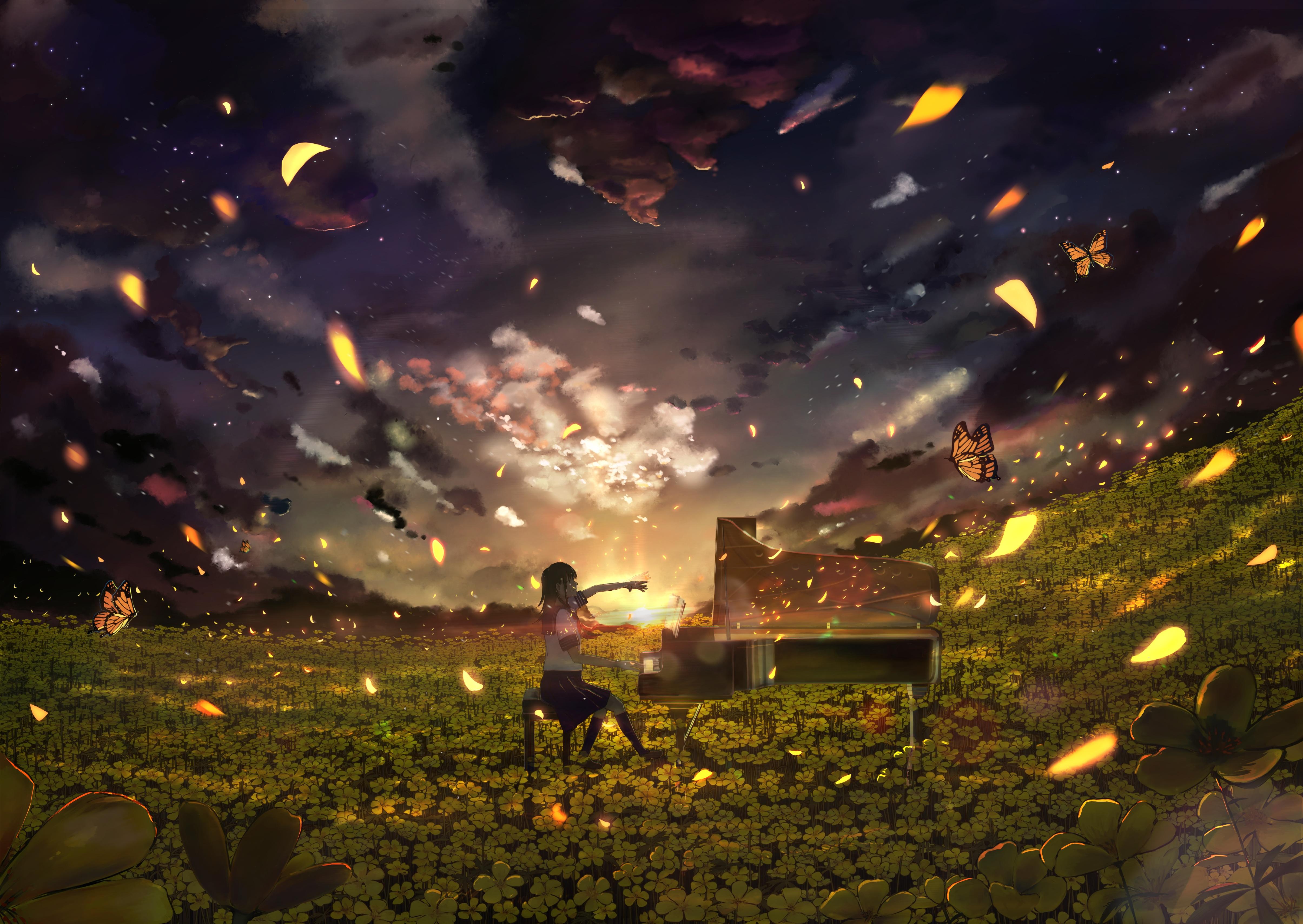 Anime 4818x3415 anime anime sky anime girls digital digital art artwork sky skyscape nature flowers yellow flower women dusk sunset Sun sun rays sunrise sunlight landscape piano pianists evening schoolgirl butterfly school uniform