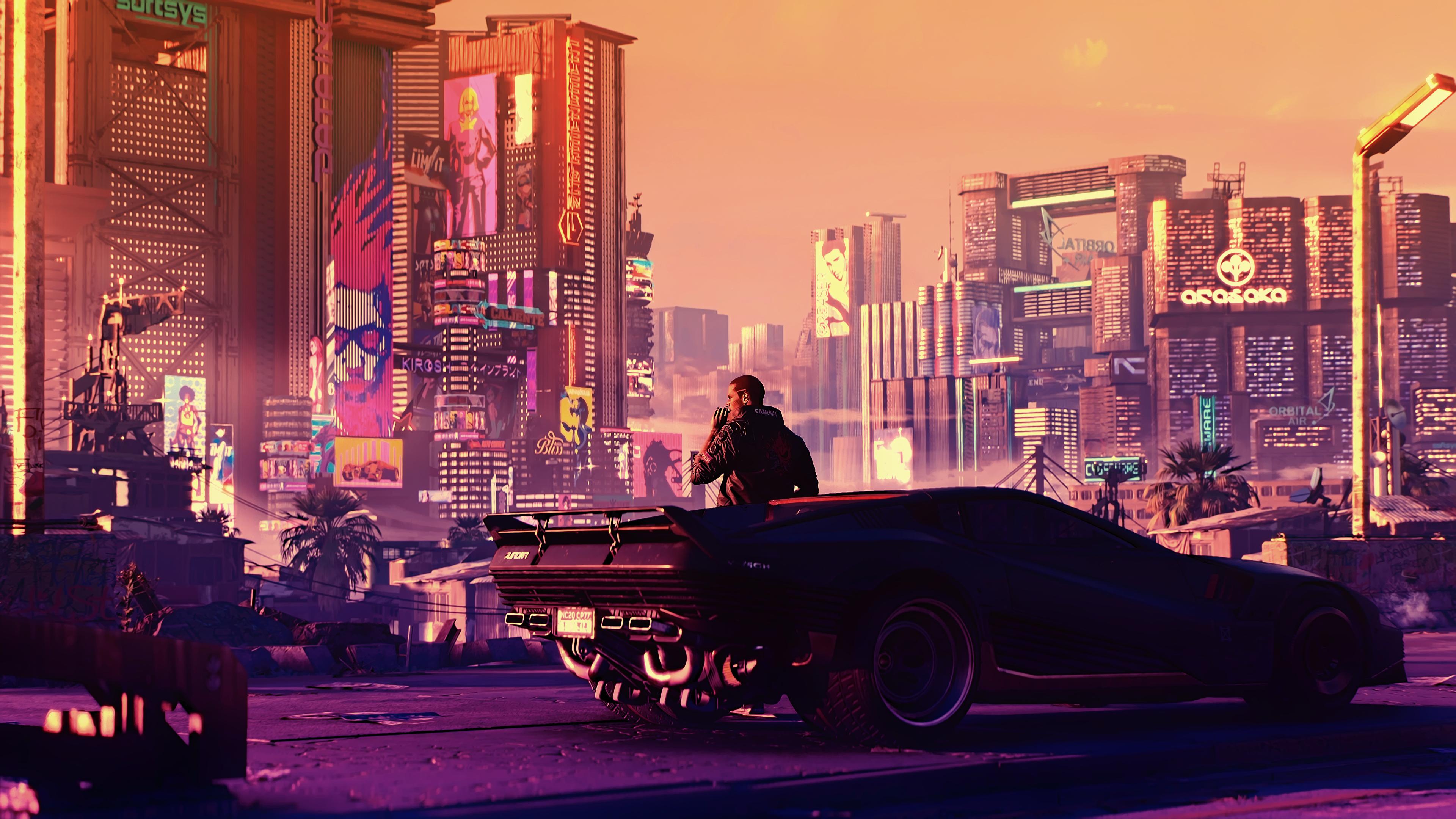 General 3840x2160 cyber science fiction digital art concept art cyberpunk artwork futuristic fantasy art fan art 3D PC gaming CGI sunset futuristic city cityscape Cyberpunk 2077 city
