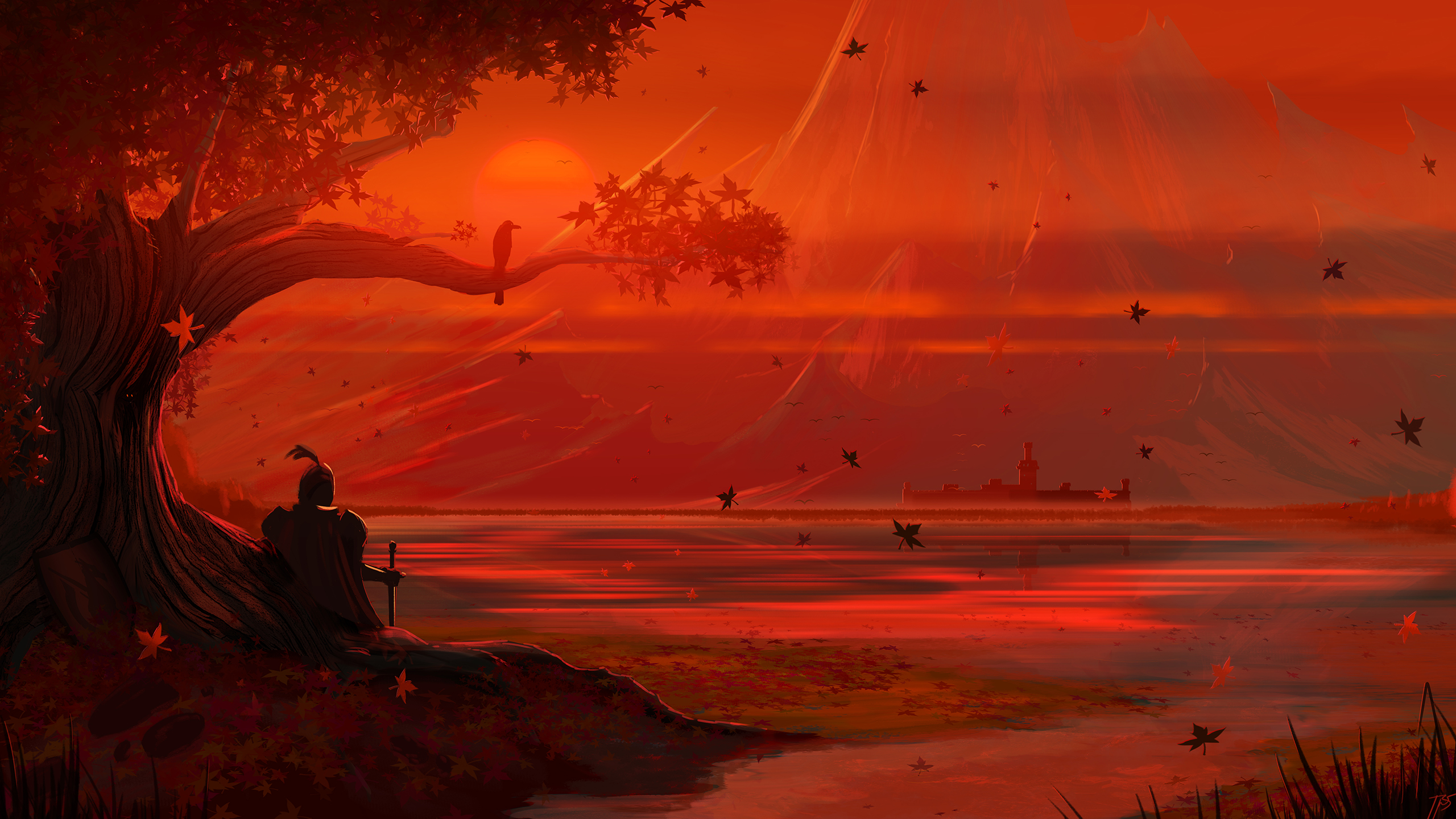 General 2560x1440 JoeyJazz fantasy art mountains fall sunset knight red trees fallen leaves