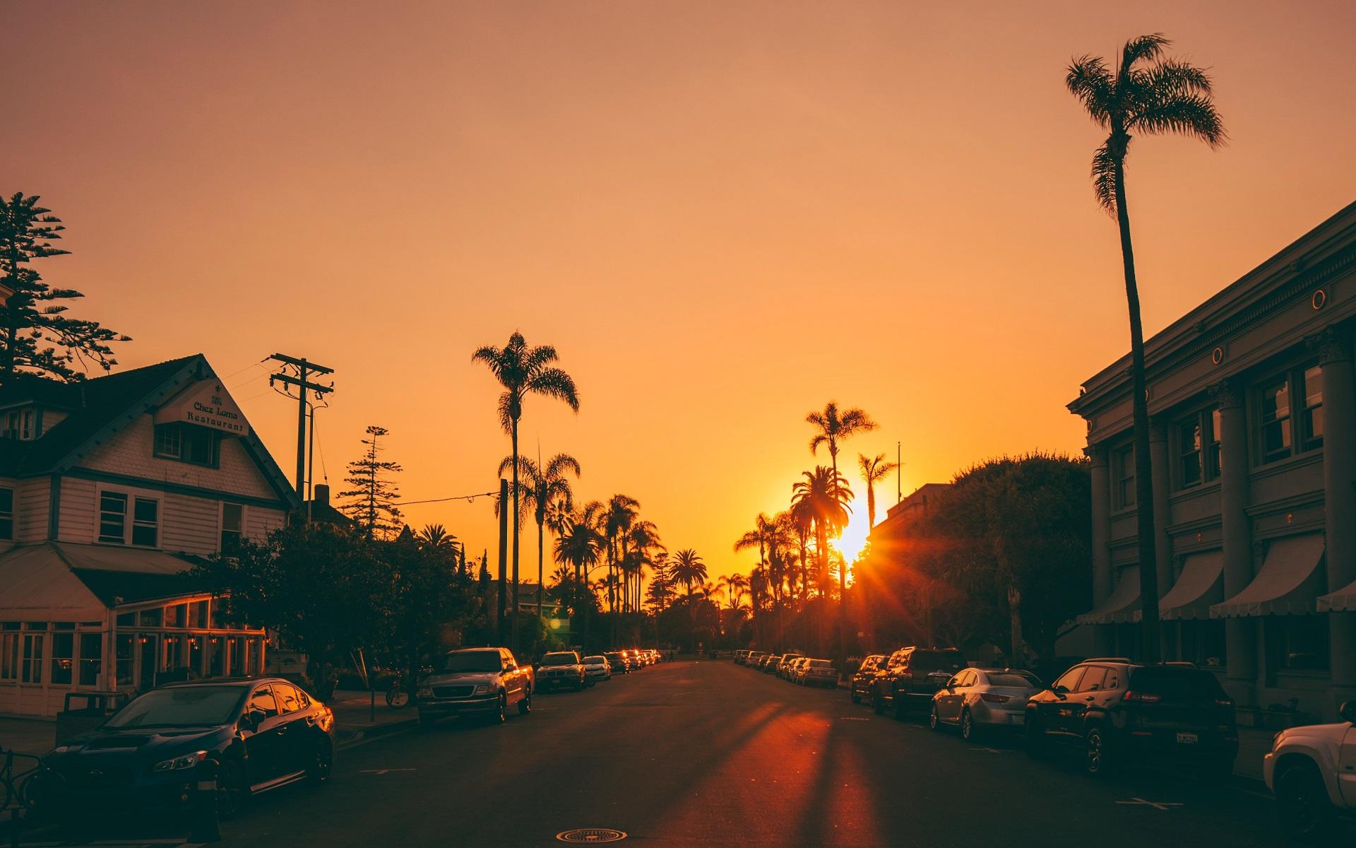 General 1920x1200 city road palm trees Sun sunset street sunlight urban car