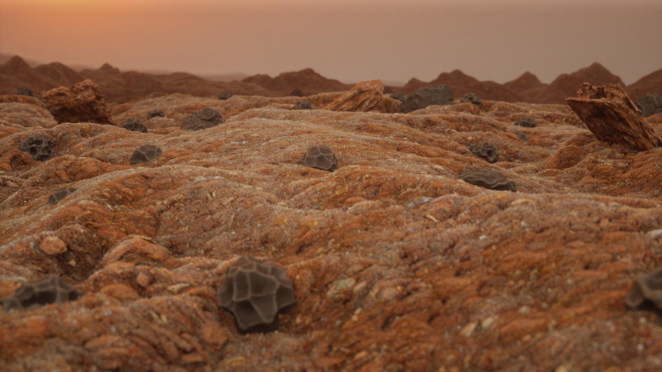General 2560x1440 digital art landscape dunes rocks meteorite mountains 3D graphics debris space planet