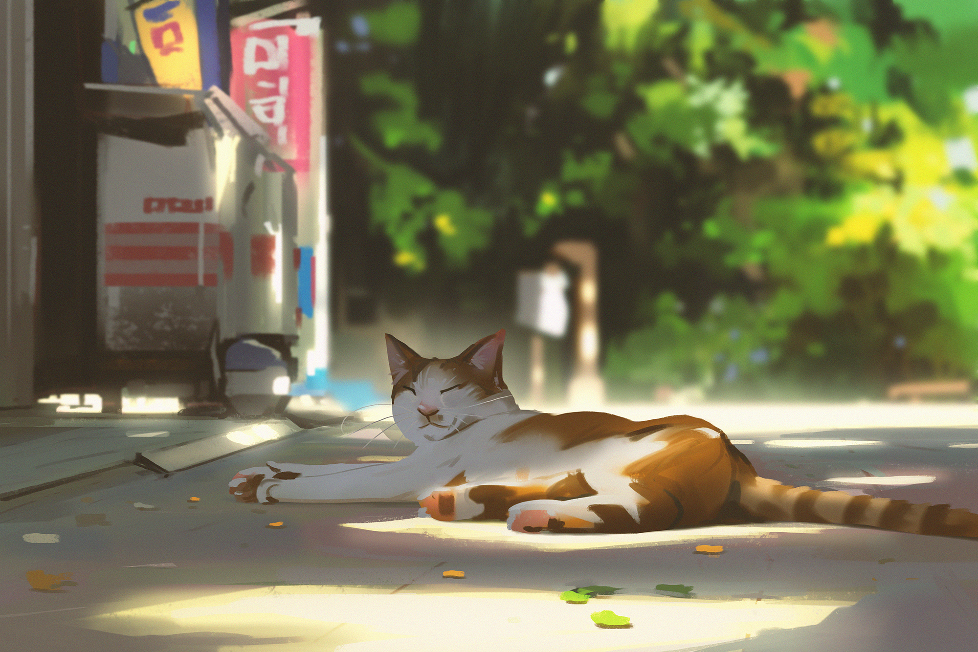 General 2000x1334 cats animals street depth of field outdoors artwork digital art digital painting illustration Atey Ghailan