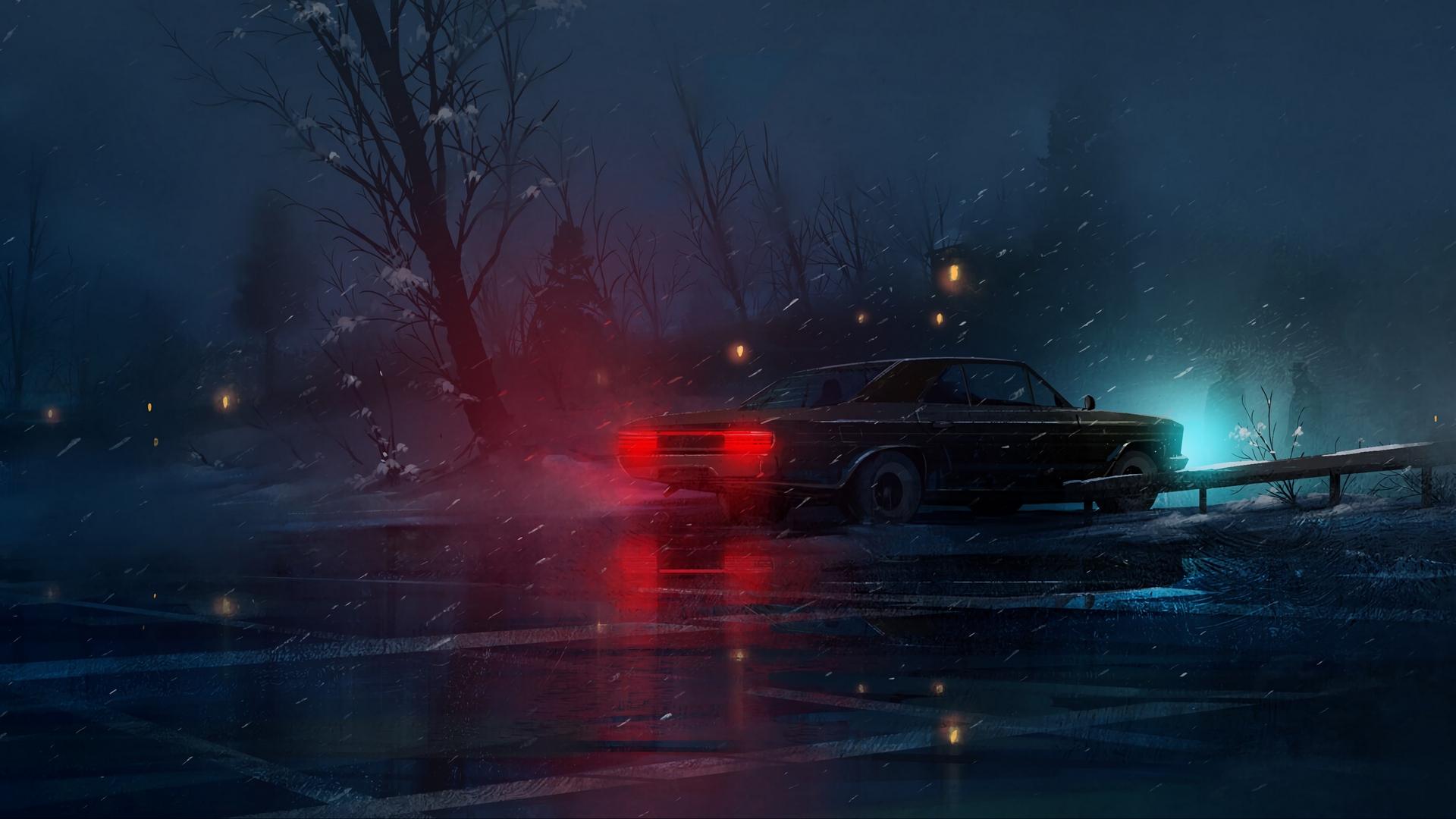 General 1920x1080 car night snow parking lot