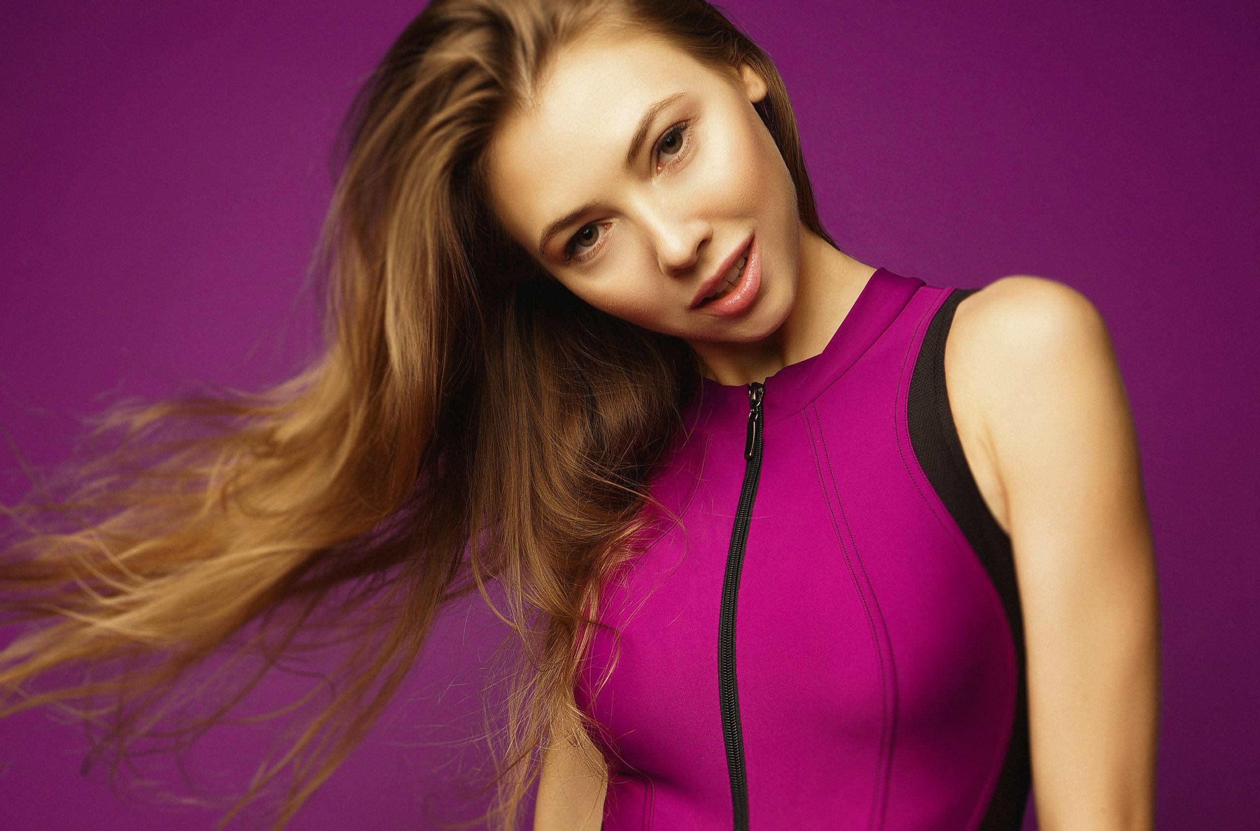 People 2560x1690 Katerina Bolinger Cute Bunny women model brunette indoors bokeh purple background purple clothing zipper zippers YFUNNY