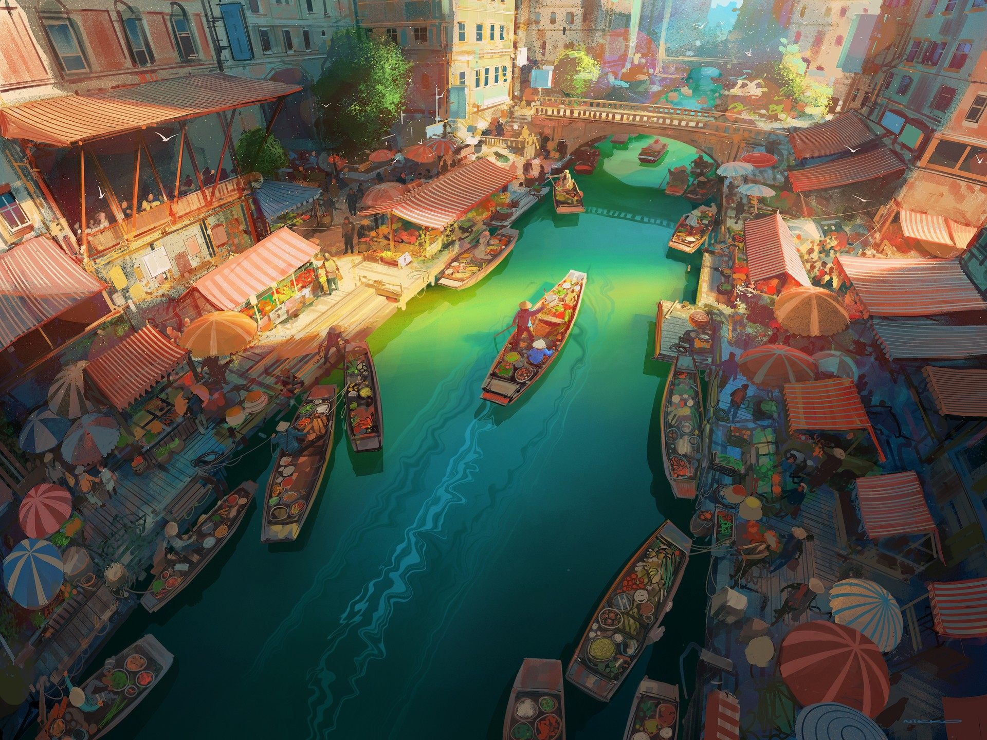 General 1920x1440 Nikolai Lockertsen artwork digital art 2D markets river canoes environment city bridge illustration building people painting birds cityscape top view aerial view colorful