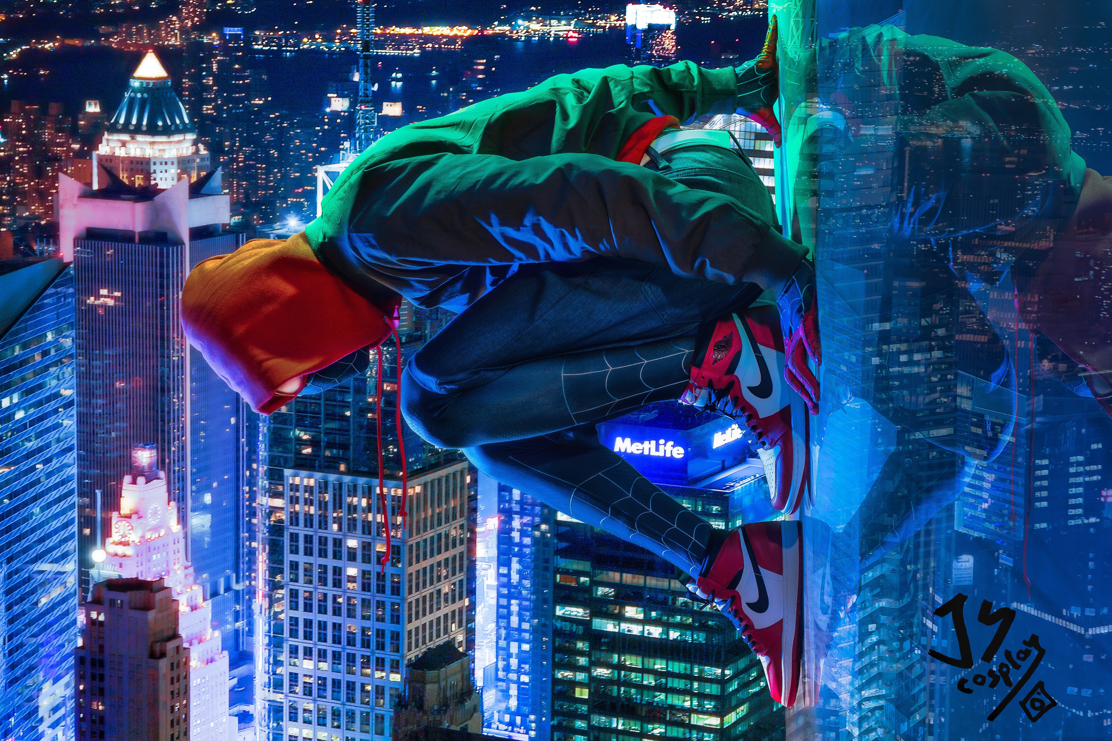 General 3840x2560 Miles Morales Marvel Comics Spider-Man: Into the Spider-Verse Spider-Man Nike hoods cityscape photo manipulation