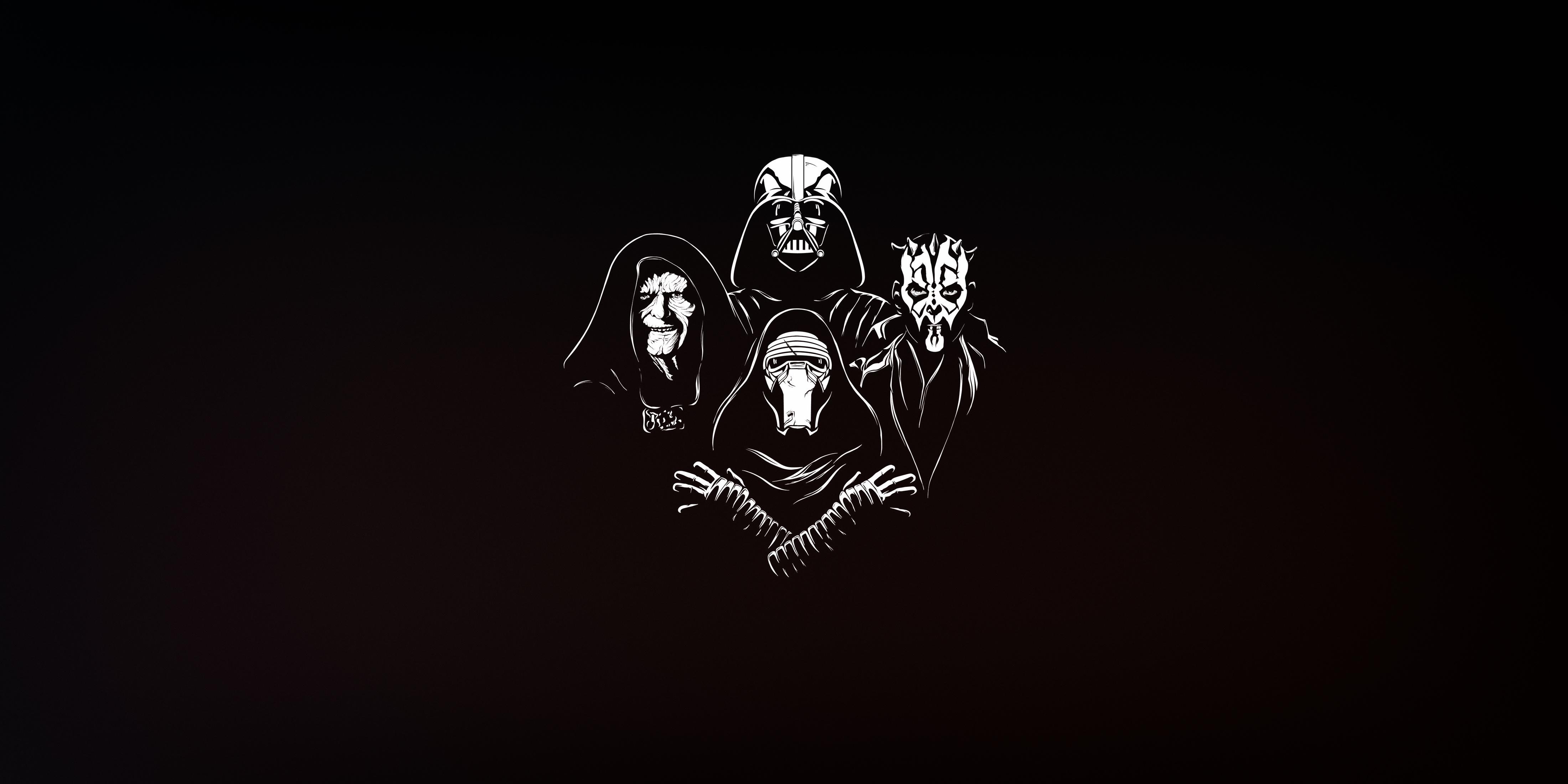 General 4400x2200 minimalism Sith Star Wars artwork simple background Darth Maul Emperor Palpatine Darth Vader Kylo Ren