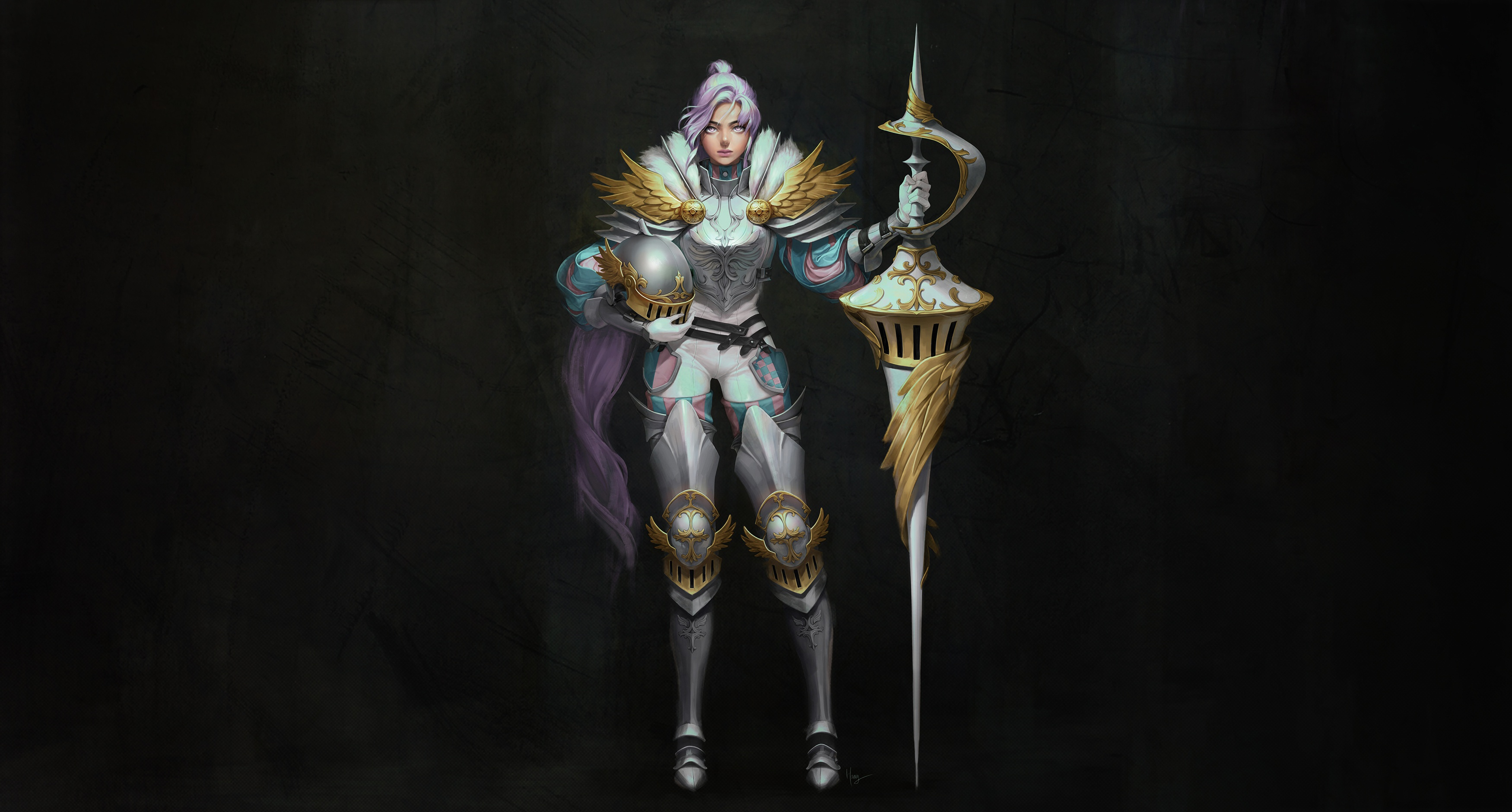 General 3500x1880 simple background black background fantasy art Armored fantasy girl knight