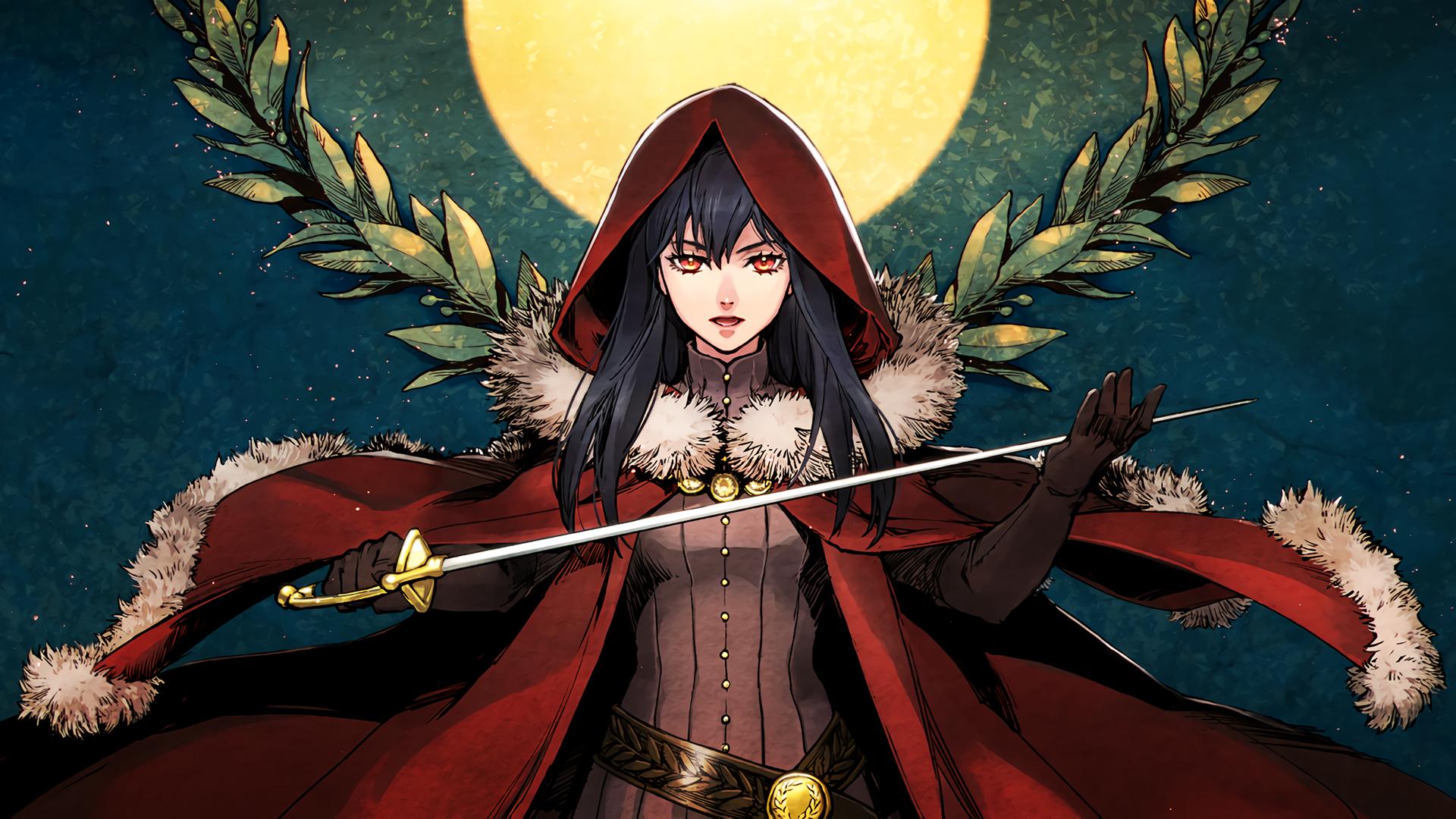 Anime 1920x1080 hoods fantasy girl red eyes weapon fantasy art