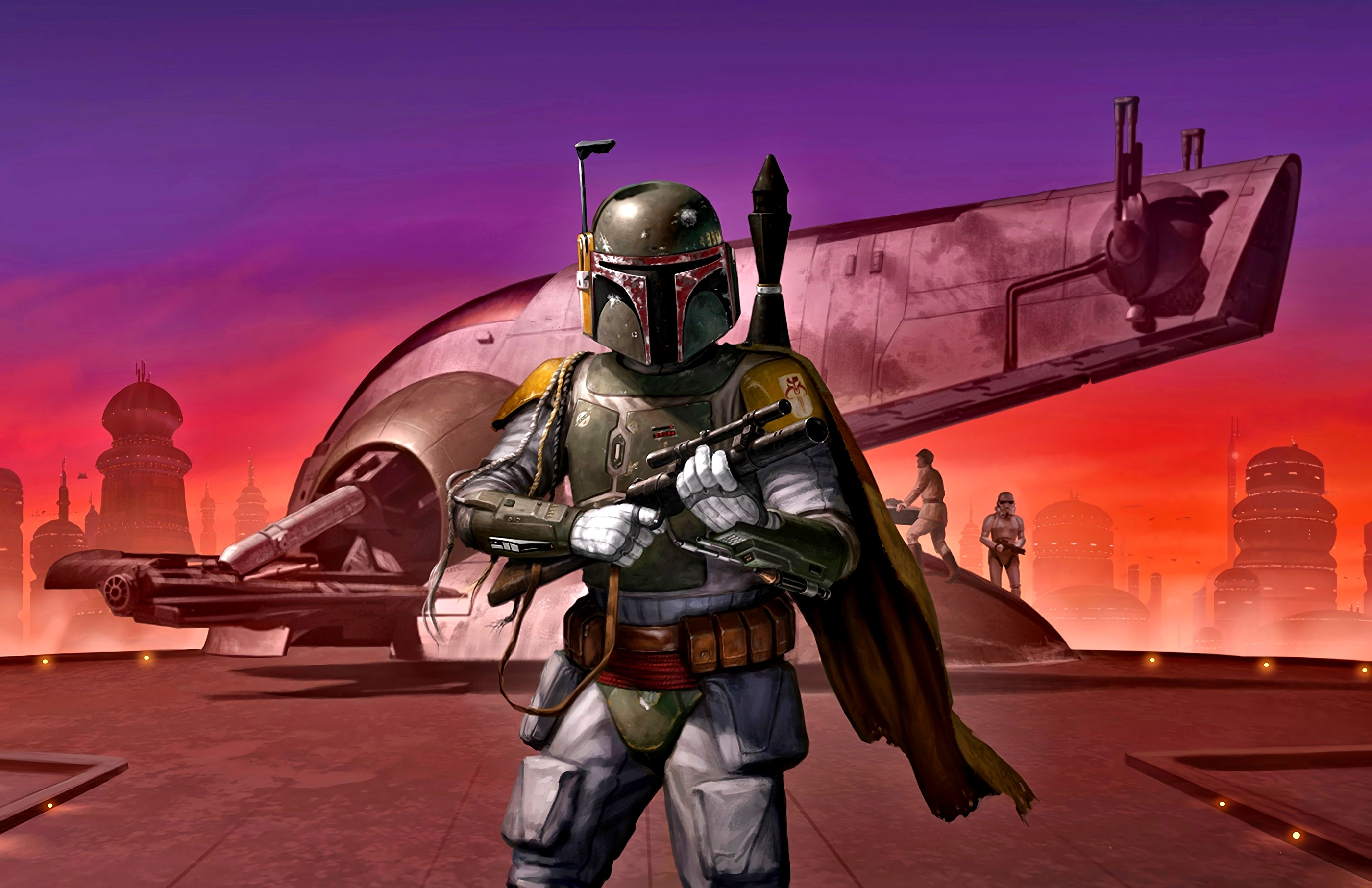 General 2800x1812 Star Wars Boba Fett Bespin spaceship helmet weapon science fiction artwork digital art Slave 1 (Star Wars)