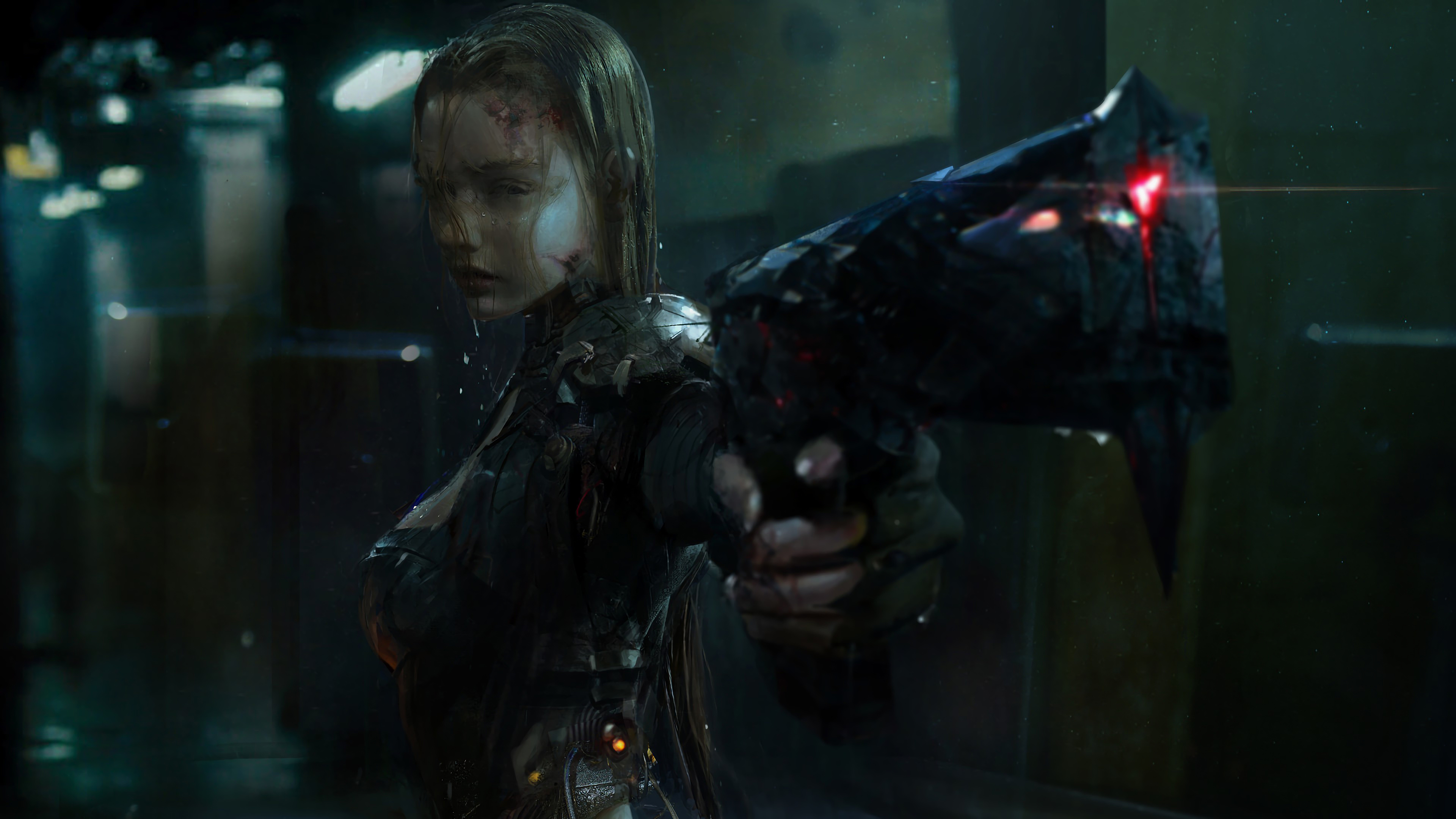 General 3840x2160 cyberpunk science fiction weapon digital art women people Huang Fan
