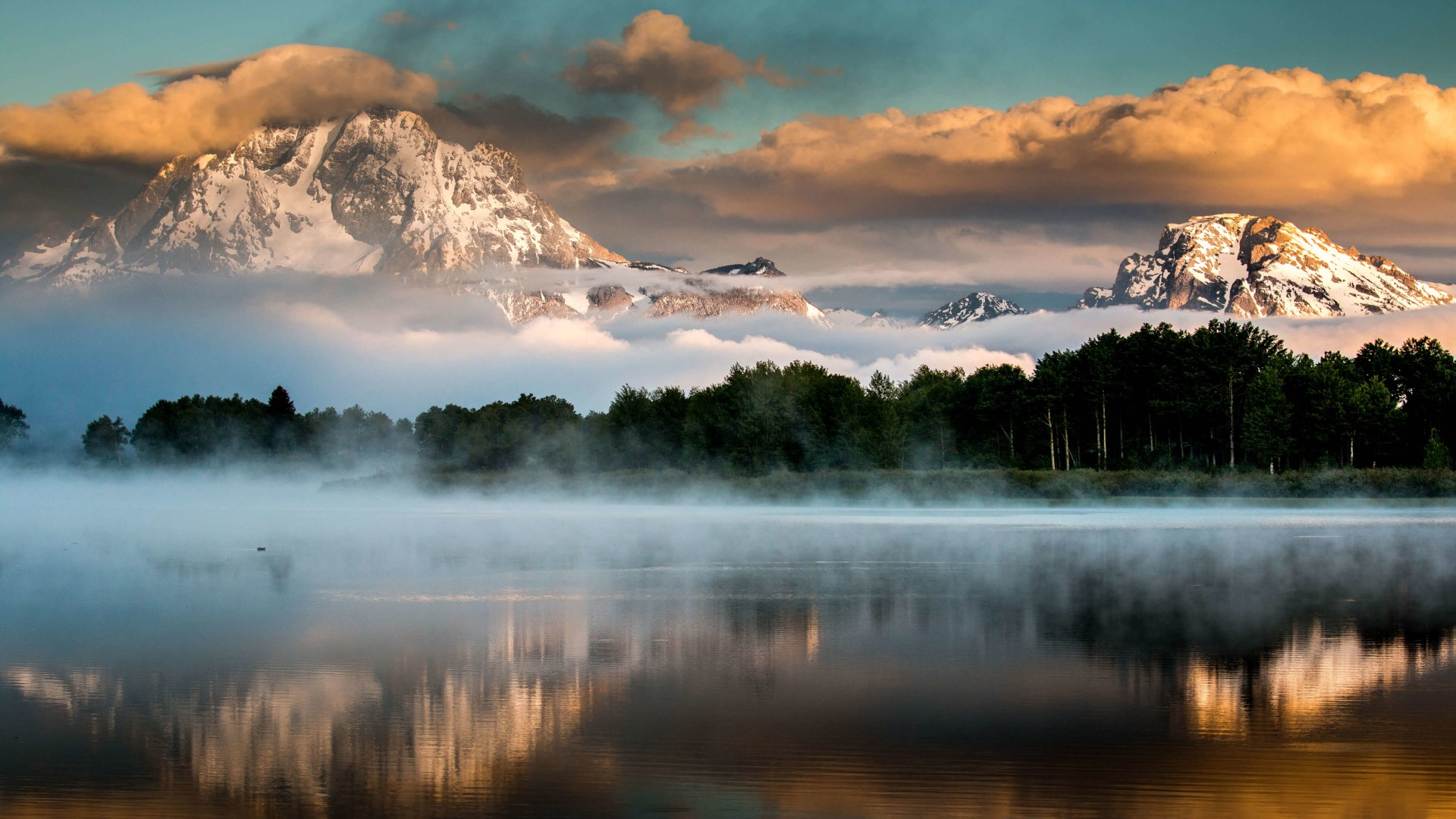 General 1920x1080 nature landscape trees mountains mist clouds sunset lake Grand Teton National Park Wyoming USA