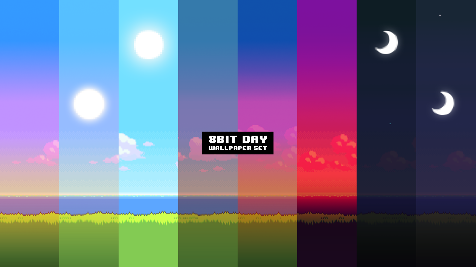General 1920x1080 pixel art 8-bit colorful collage digital art