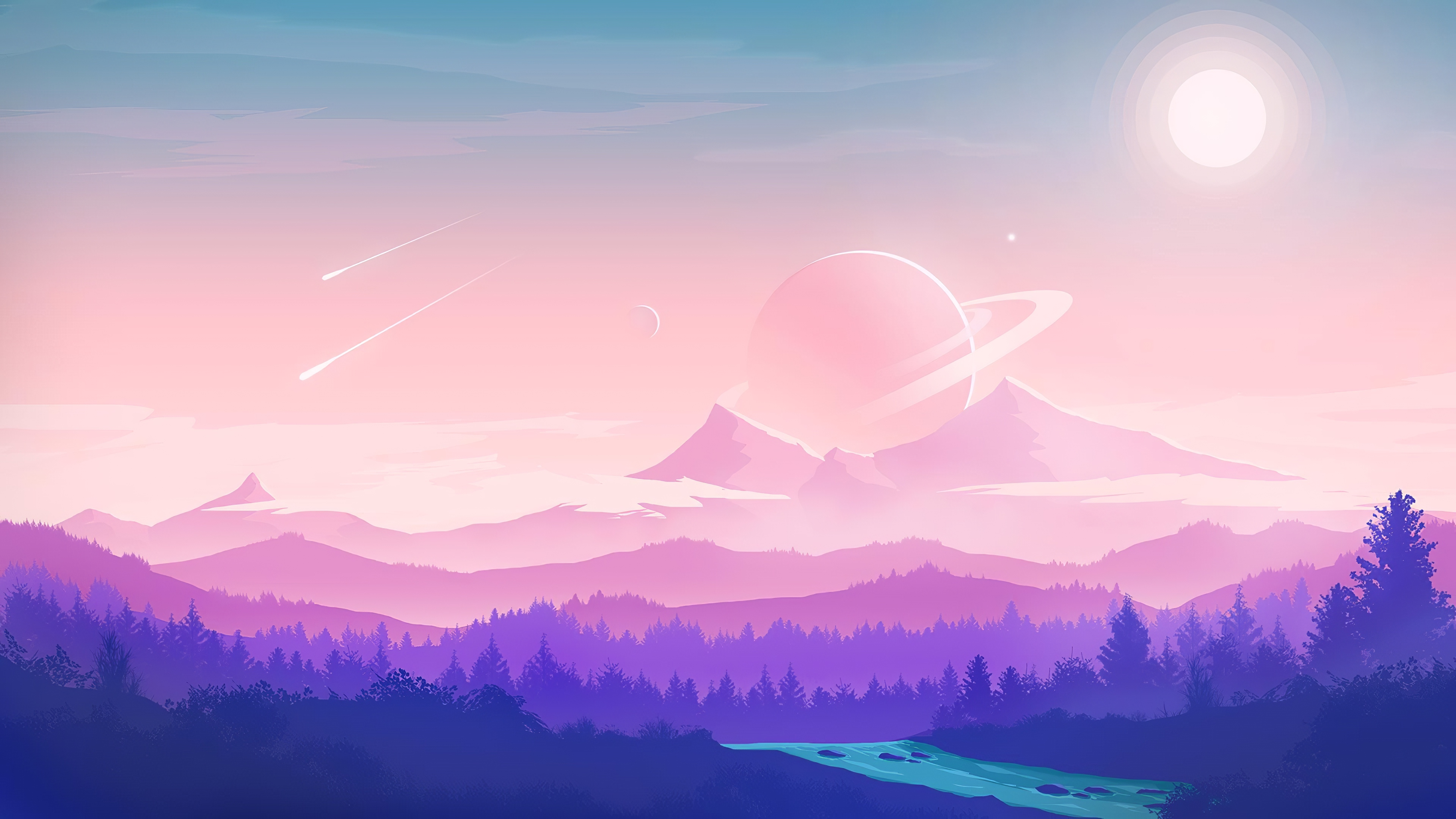 General 3840x2160 digital art artwork fantasy art planet Sun sunlight nature forest trees mountains landscape sky skyscape comet clouds minimalism Flatdesign vector art illustration vector