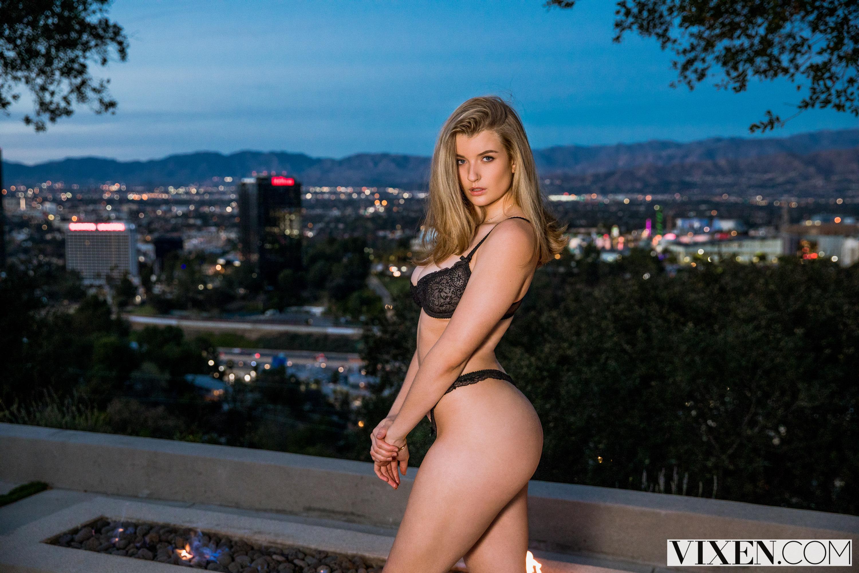 People 3000x2000 Mia Melano blonde pornstar big boobs huge breasts Vixen.com black bras fire side view ass lingerie women