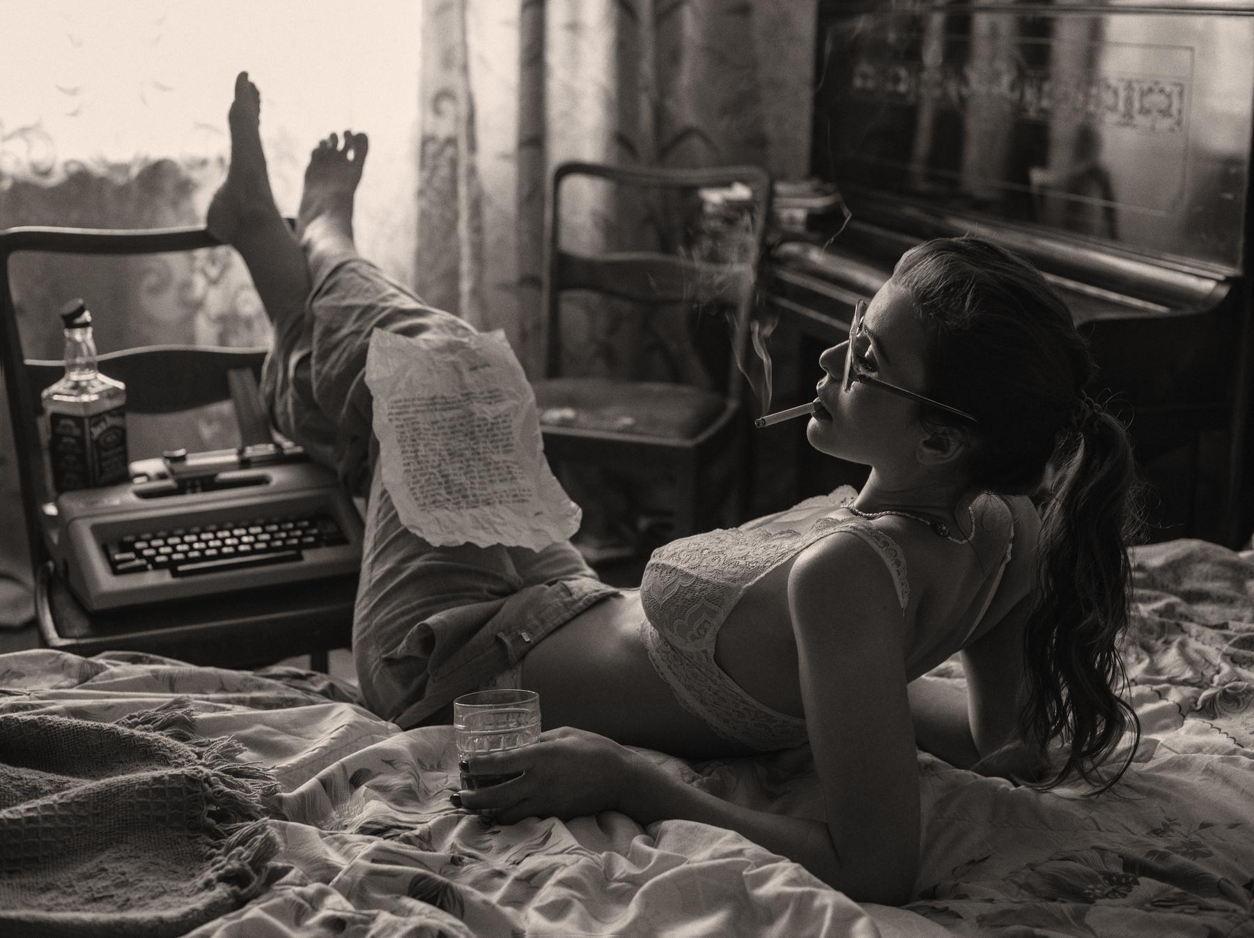 People 1800x1346 sepia women model cigarettes smoking women indoors bra typewriters barefoot David Dubnitskiy alcohol bottles Jack Daniel's whisky
