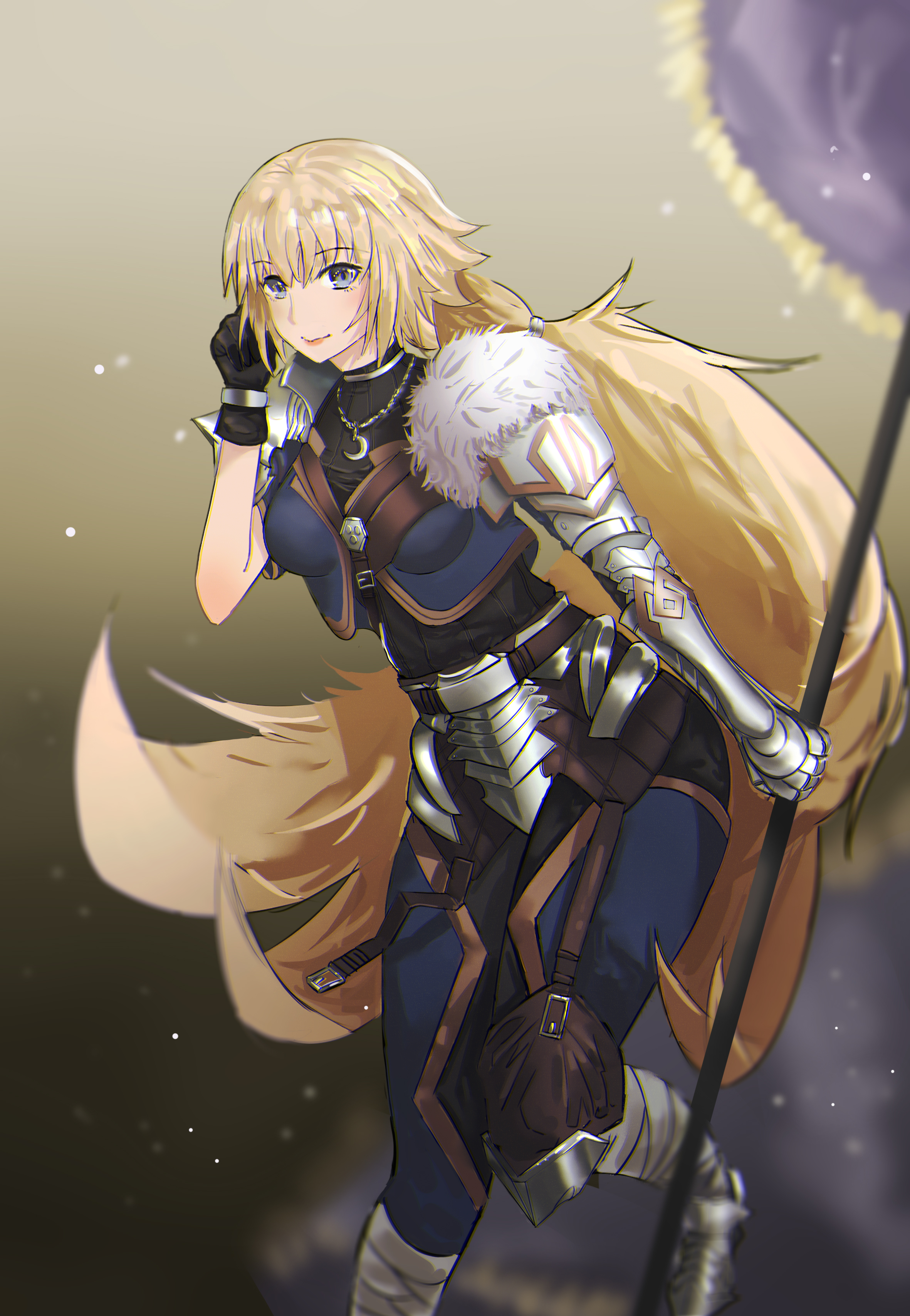 Anime 2362x3417 Fate Series Fate/Apocrypha  anime girls fantasy armor 2D fan art simple background blond hair long hair vertical Ruler (Fate/Apocrypha) Jeanne d'Arc (Fate)