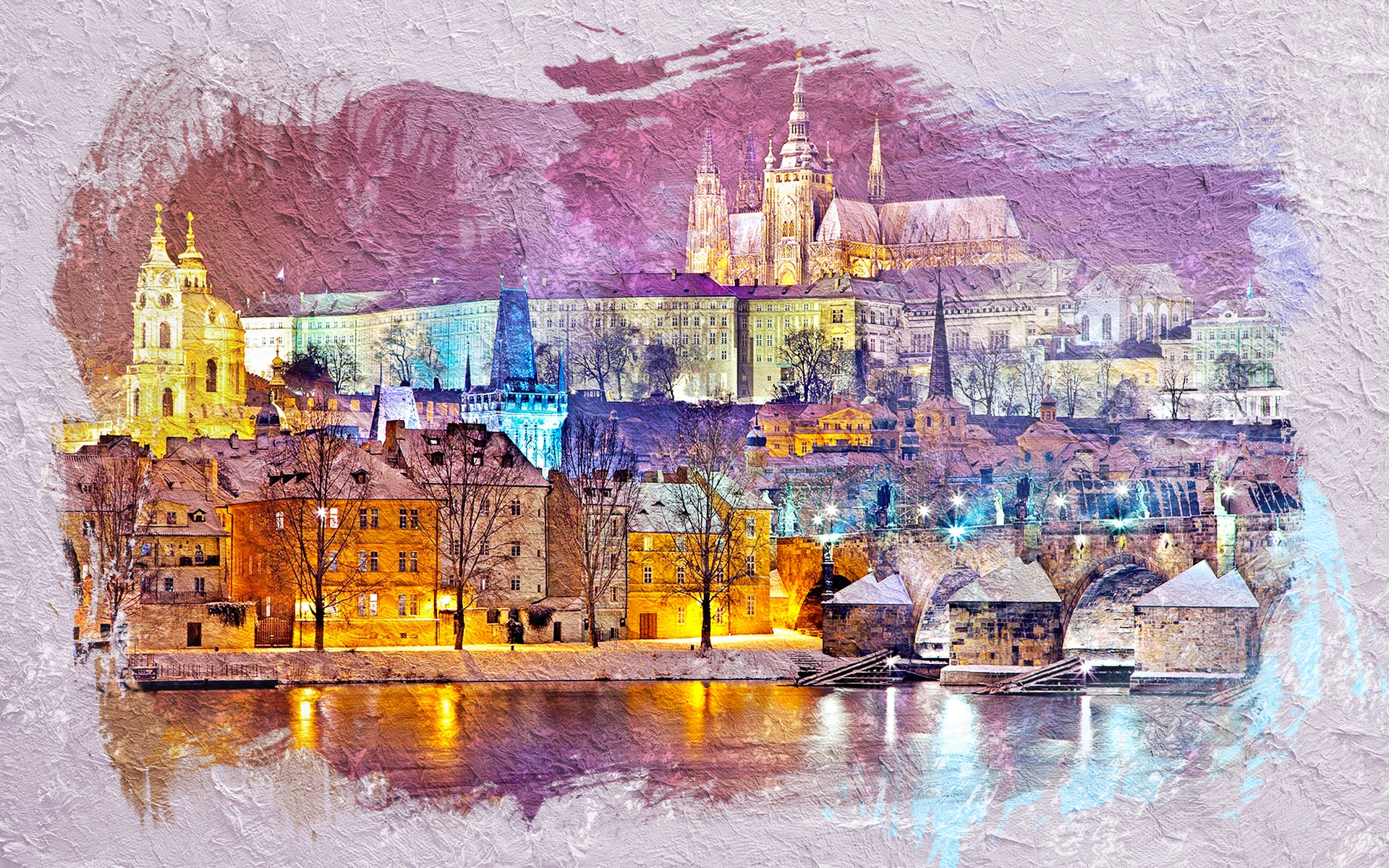 General 1920x1200 colorful city cityscape artwork Prague Czech Republic lights castle old building bridge Charles Bridge old bridge river