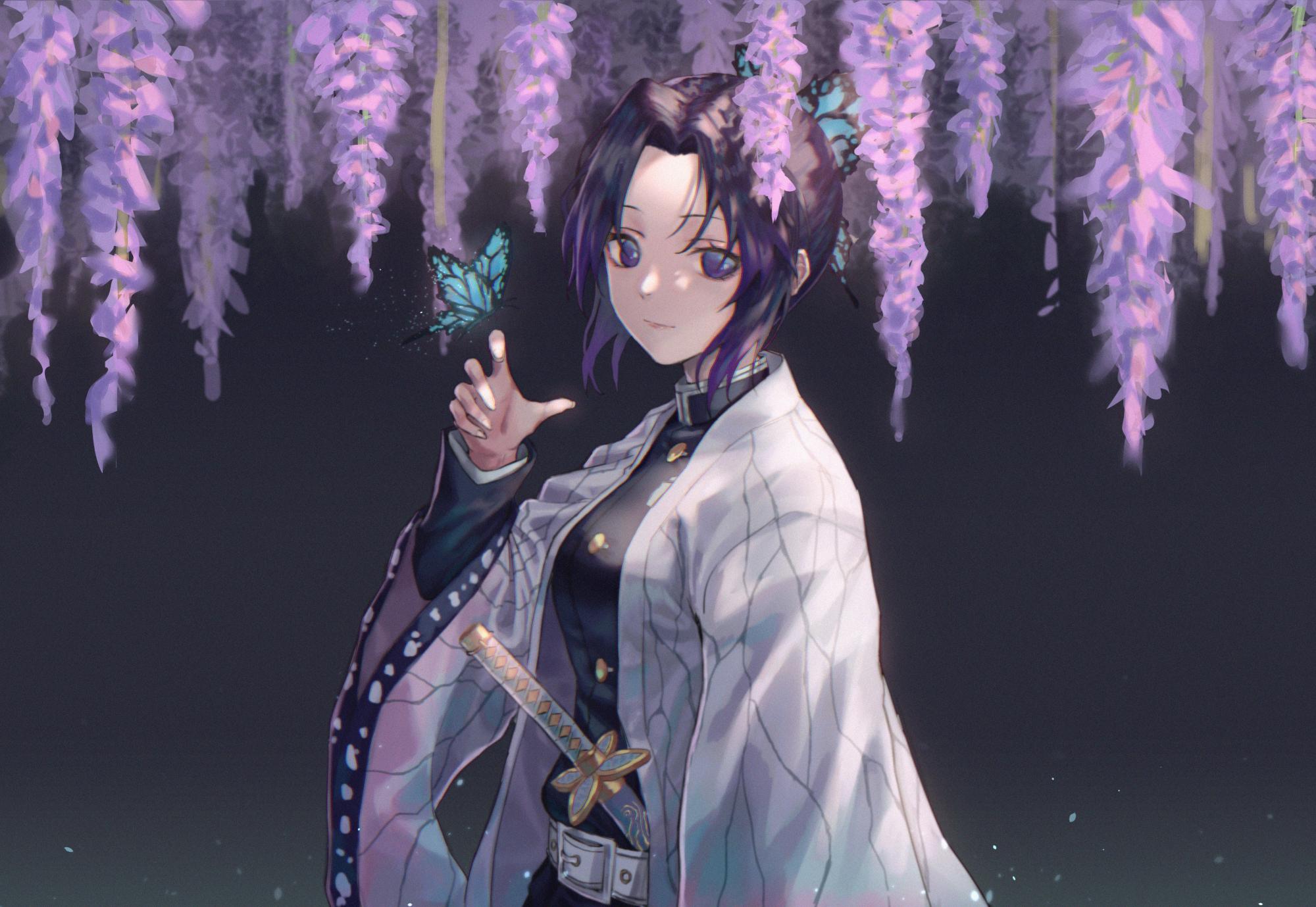 Anime 2000x1379 anime anime girls digital art artwork portrait 2D Kimetsu no Yaiba Japanese kimono katana Kochou Shinobu butterfly black hair multi-colored hair