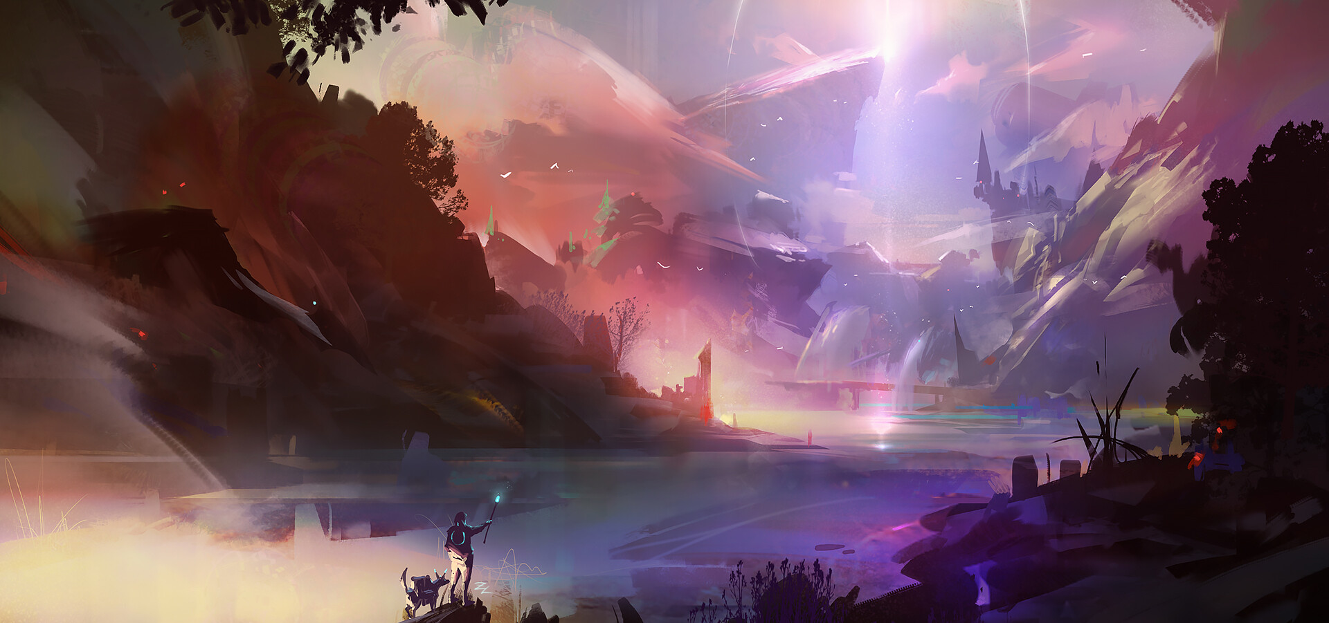 General 1920x901 artwork digital art river fantasy art rocks landscape