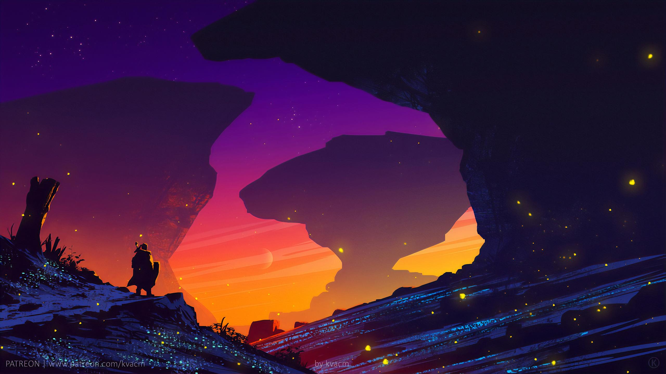 General 2560x1440 digital digital art artwork fantasy art knight silhouette sunset evening landscape digital painting dusk sky rocks stars fairies synthwave Sun