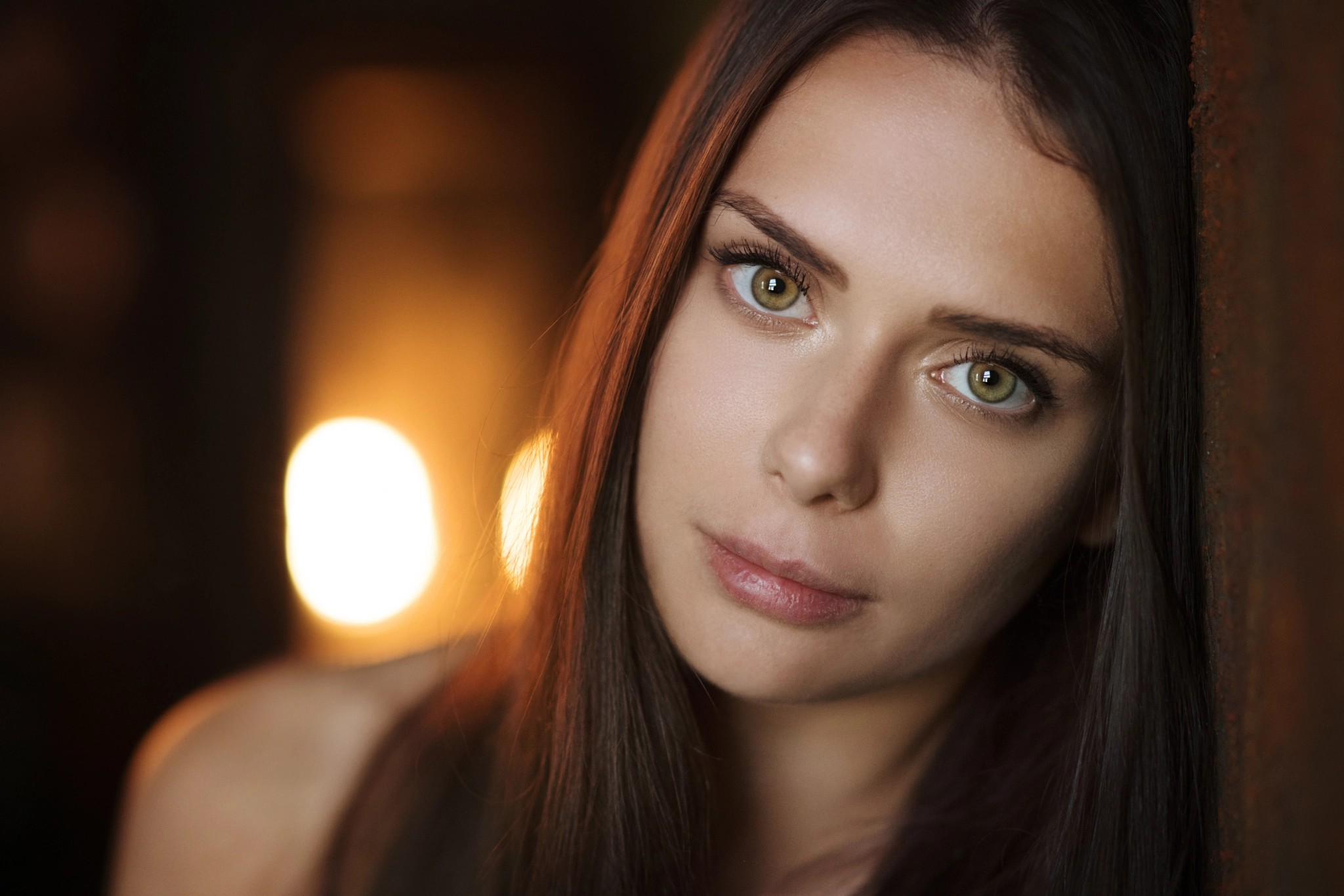 People 2048x1366 brunette green eyes portrait looking at viewer women face women indoors model depth of field blurred lights Maxim Maximov long hair