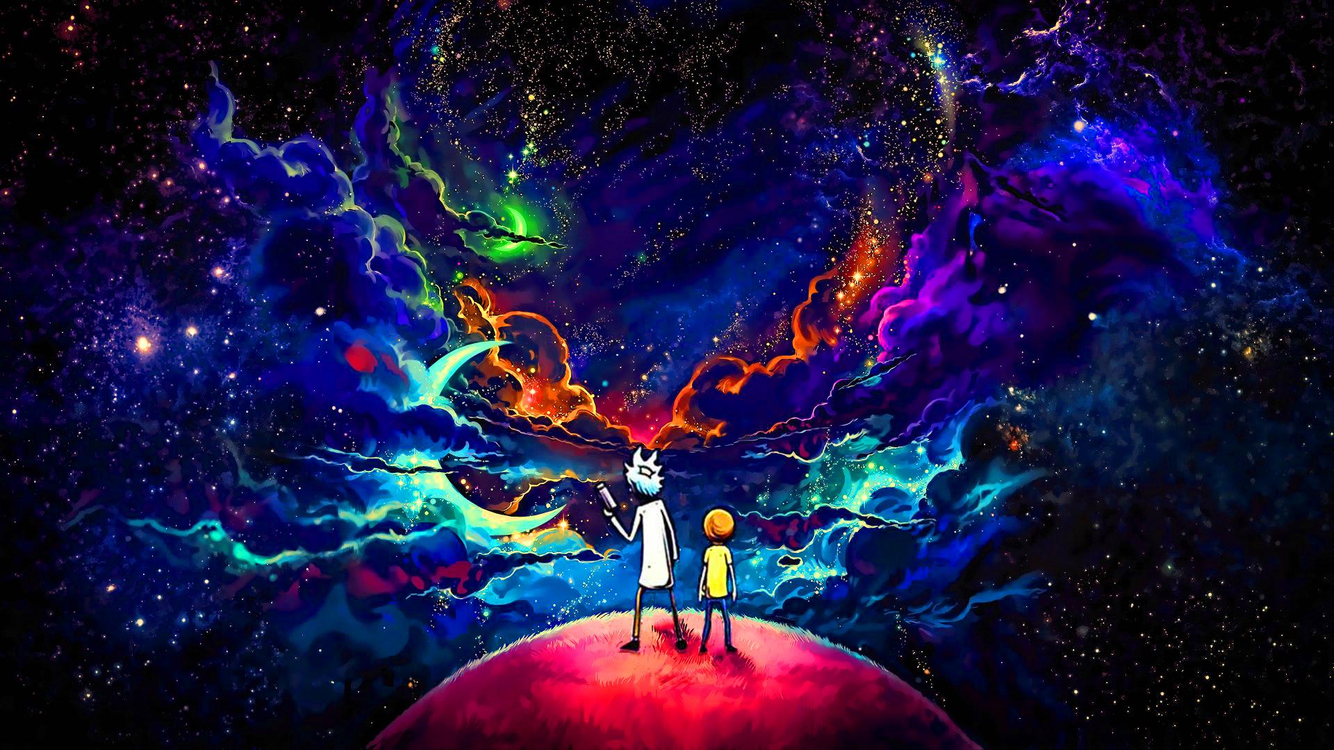 Rick and Morty, orange, space, planet, blue, black, stars ...