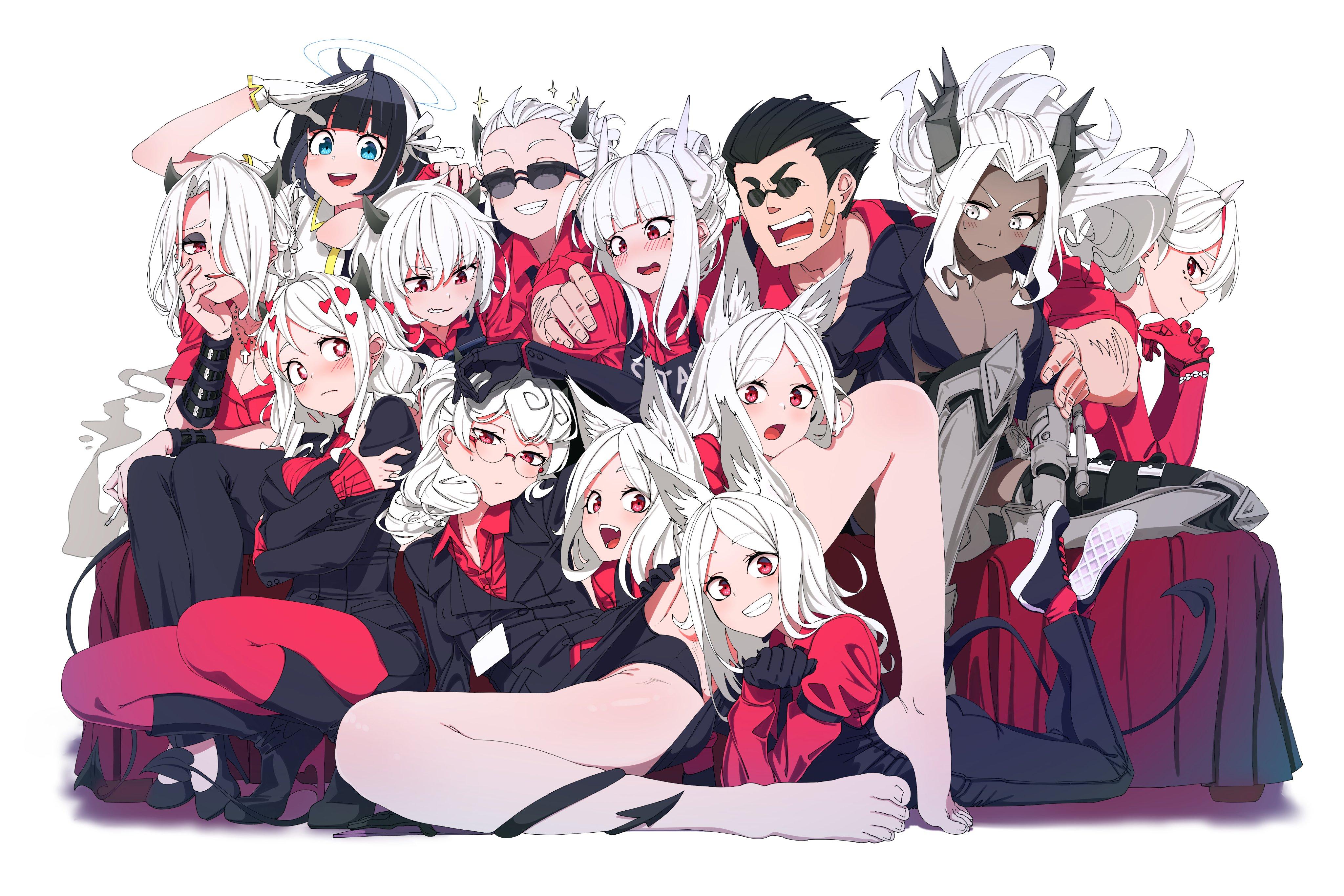 Anime 4096x2731 Helltaker Cerberus (Helltaker) Lucifer (Helltaker) Pandemonica (Helltaker) Modeus (Helltaker) anime anime girls demon girls white background white hair black thong spread legs