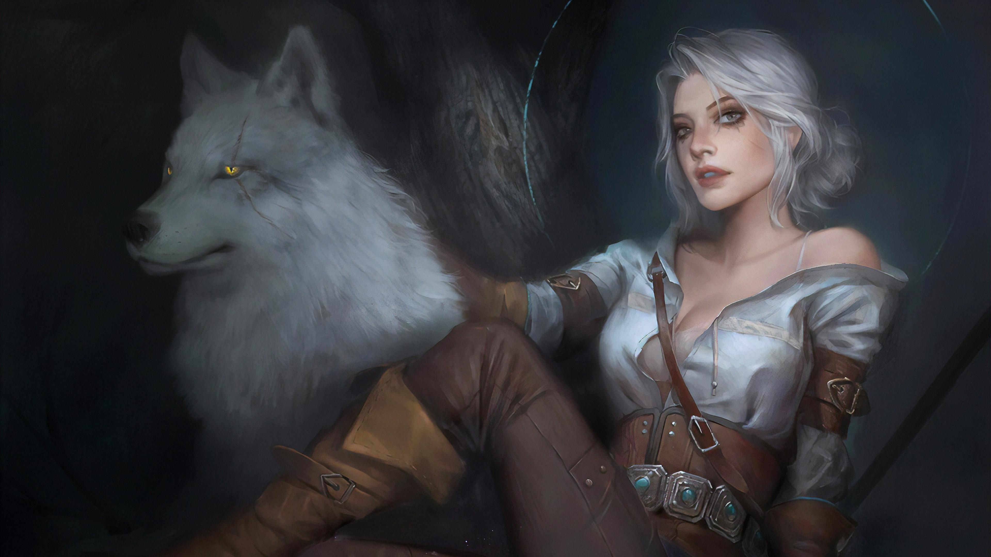 General 3840x2160 digital art artwork video games women Cirilla Fiona Elen Riannon The Witcher The Witcher 3: Wild Hunt looking at viewer white hair wolf