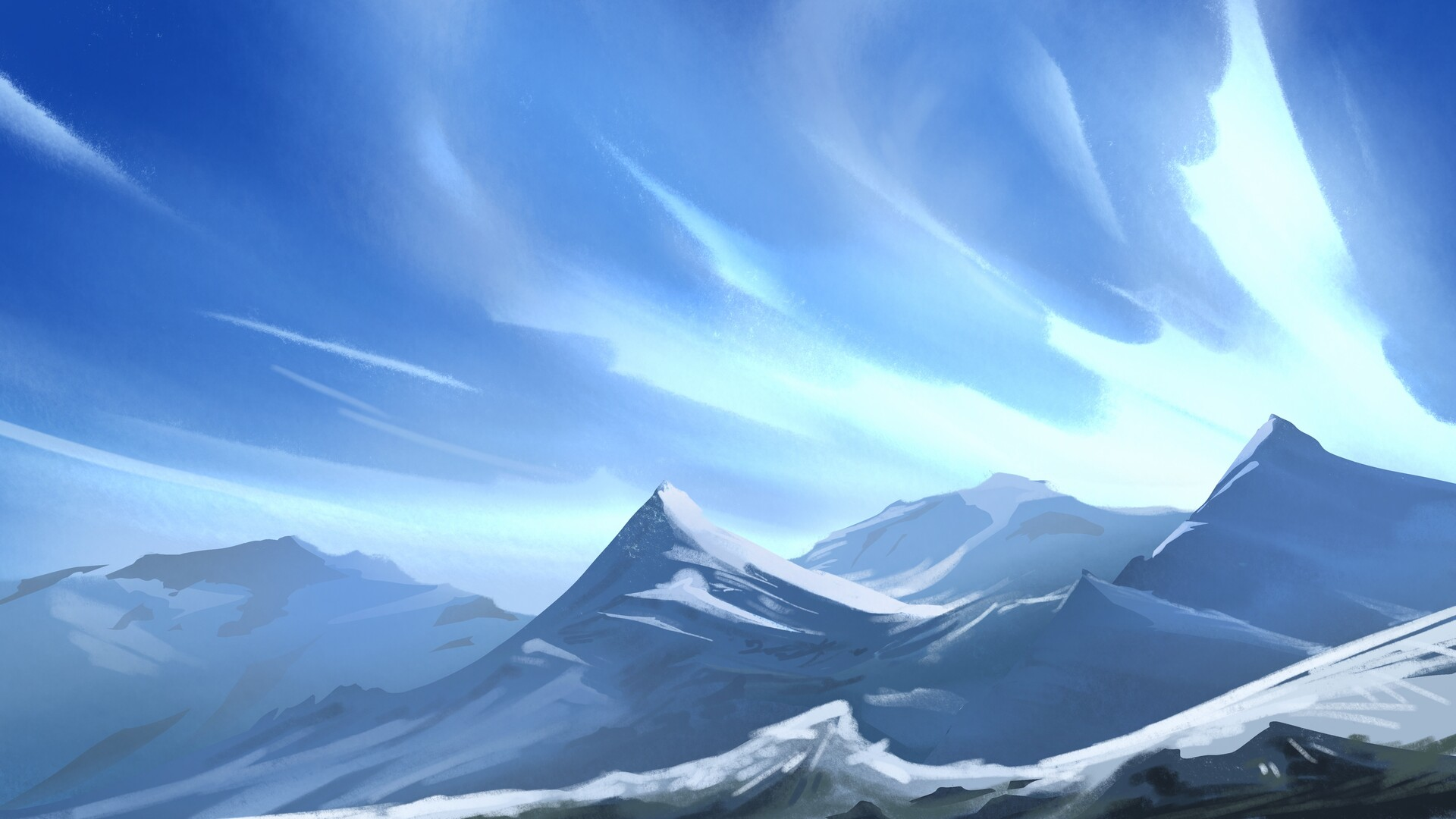 General 1920x1080 Ingram Schell artwork mountains snow sky