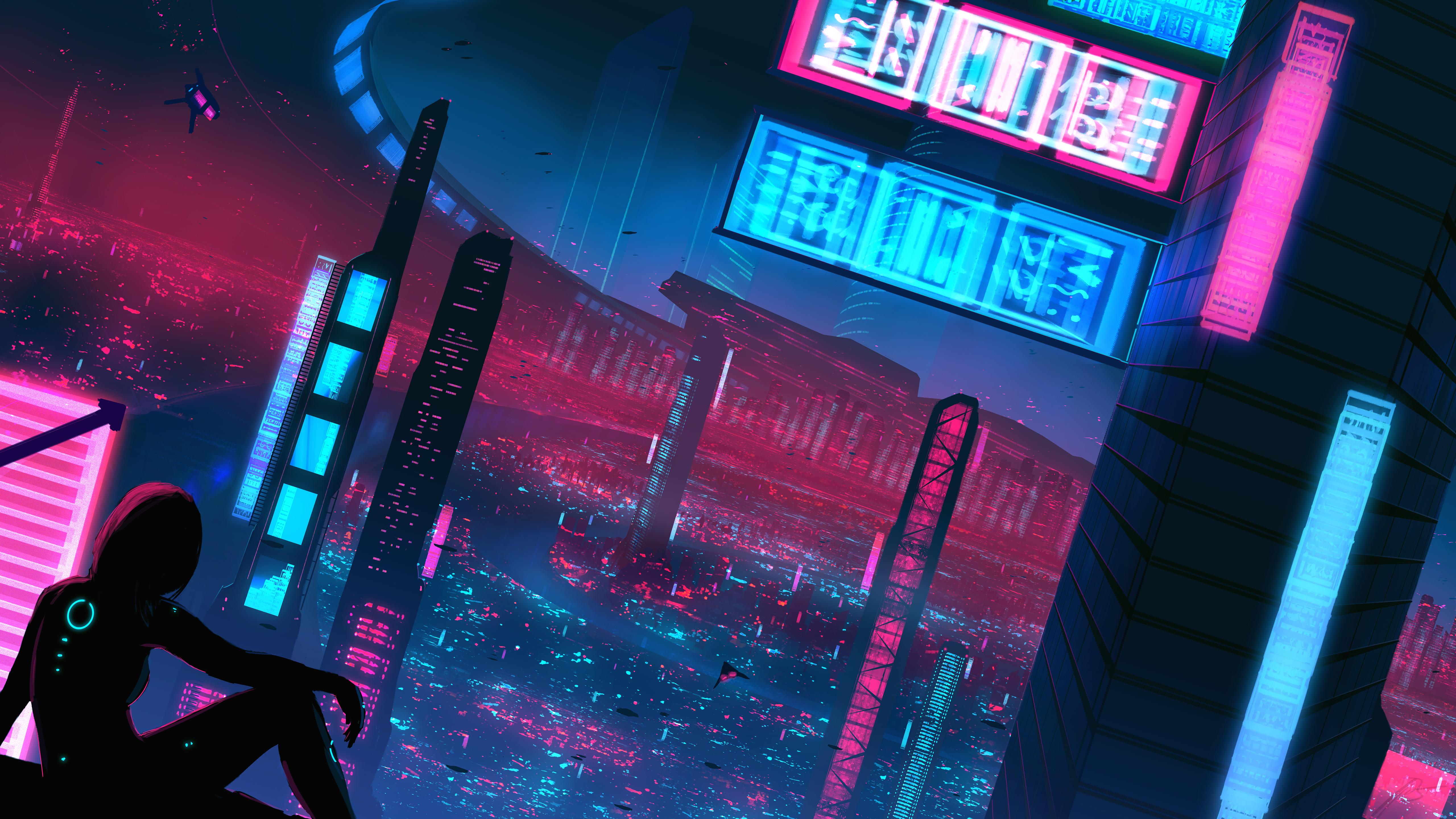 General 5120x2880 JoeyJazz neon cityscape science fiction