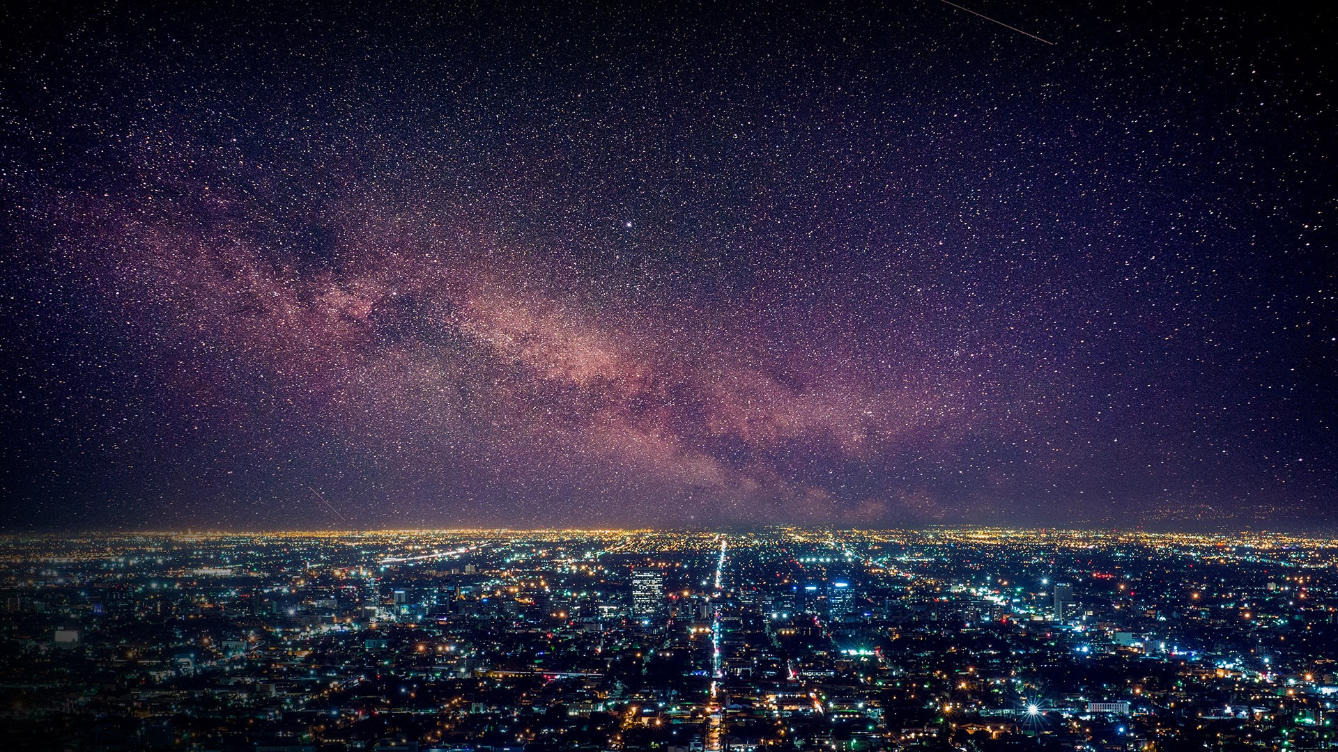 General 1920x1080 aerial view drone photo nature landscape stars galaxy Milky Way shooting stars house city lights road cityscape Los Angeles California USA
