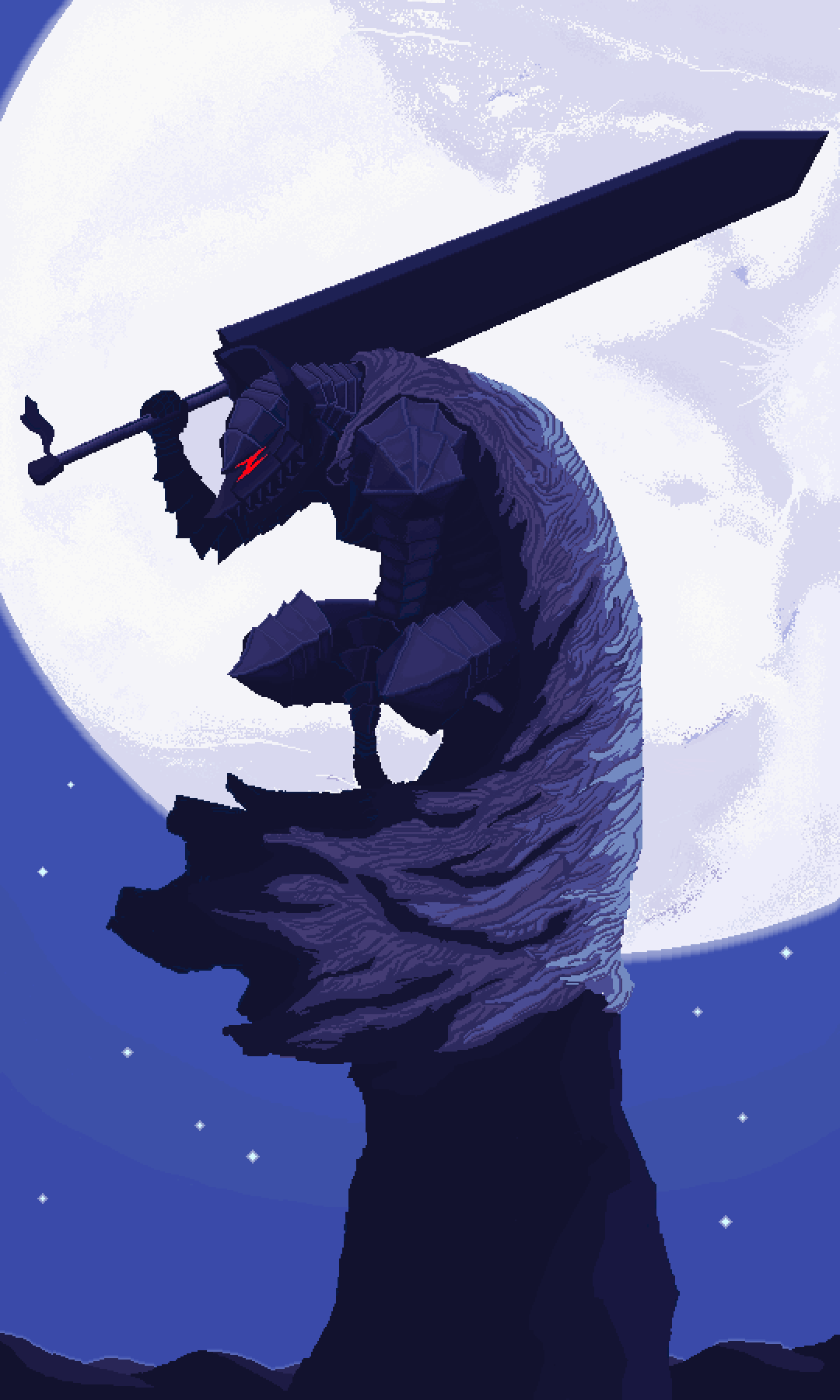 Anime 1080x1800 Berserk anime boys armor 2D 8-bit fantasy weapon fantasy armor berserk armor moonlight vertical Guts Black Swordsman pixel art fan art portrait display