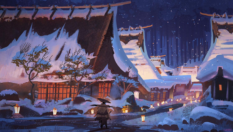 General 1500x853 Jason Scheier Asian architecture snow artwork forest painting lantern