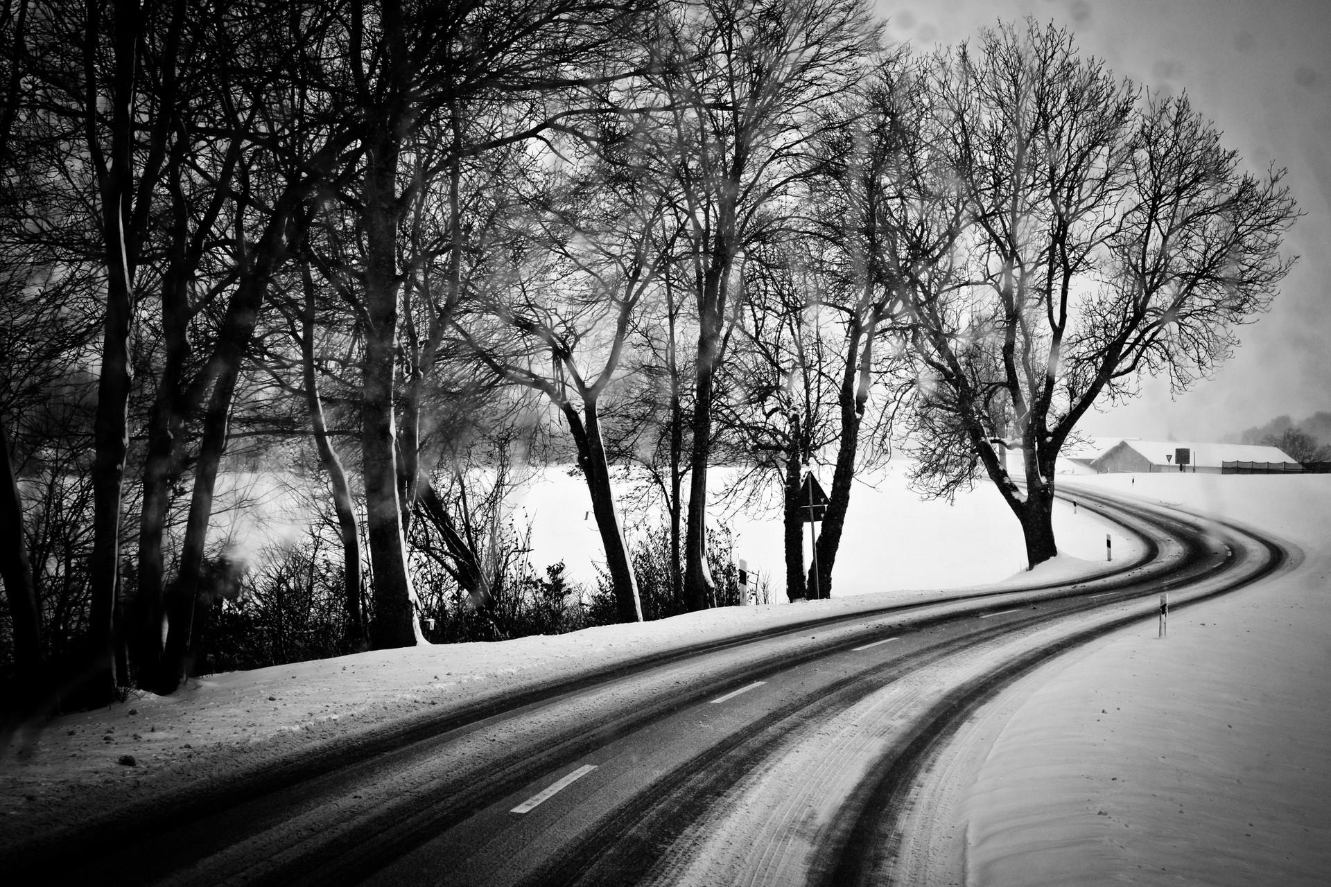 General 1920x1280 monochrome winter road snow trees overcast snowing