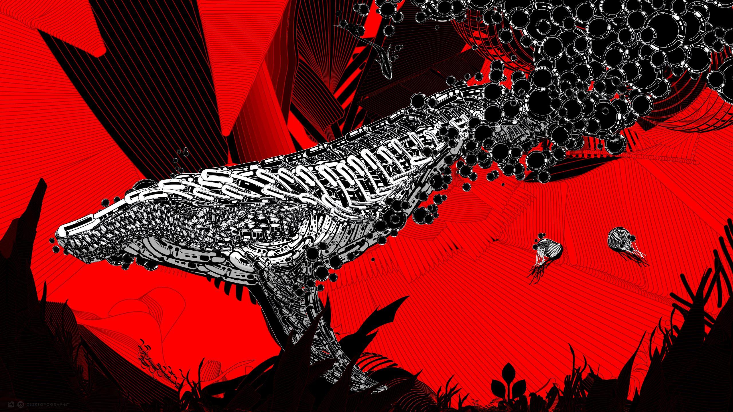 General 2560x1440 Desktopography Photoshop digital artwork whale animals line art jellyfish bubbles red