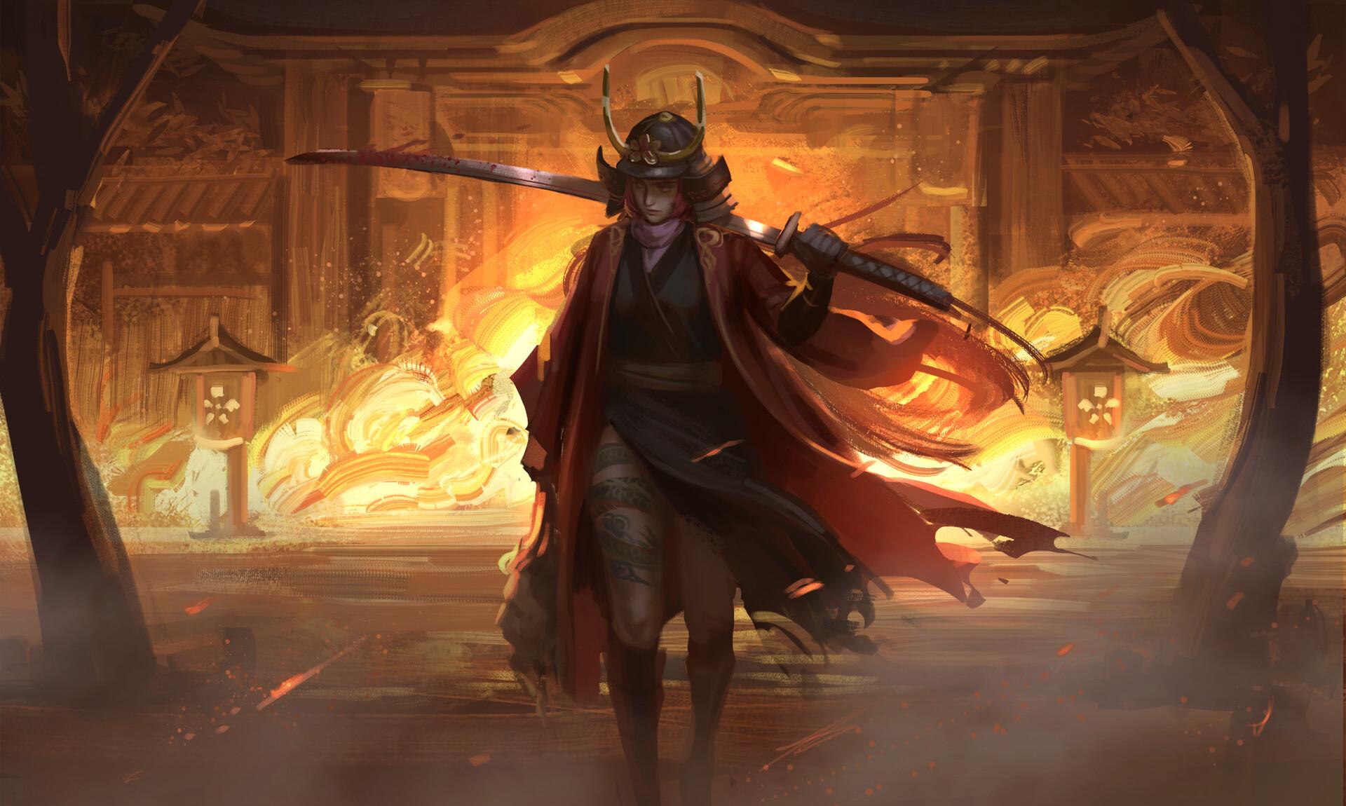 General 1920x1150 samurai fire odachi katana blood fantasy art tattoo women head trees gates beheading