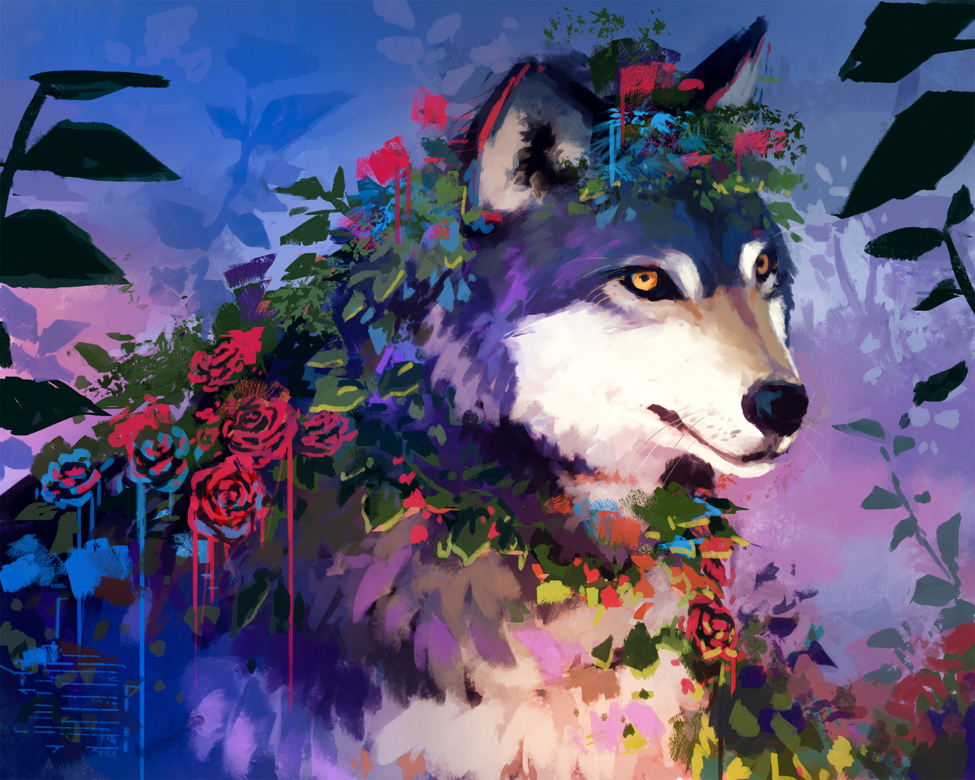 General 1920x1536 Hannah Jones digital art painting colorful dog roses plants animals flowers
