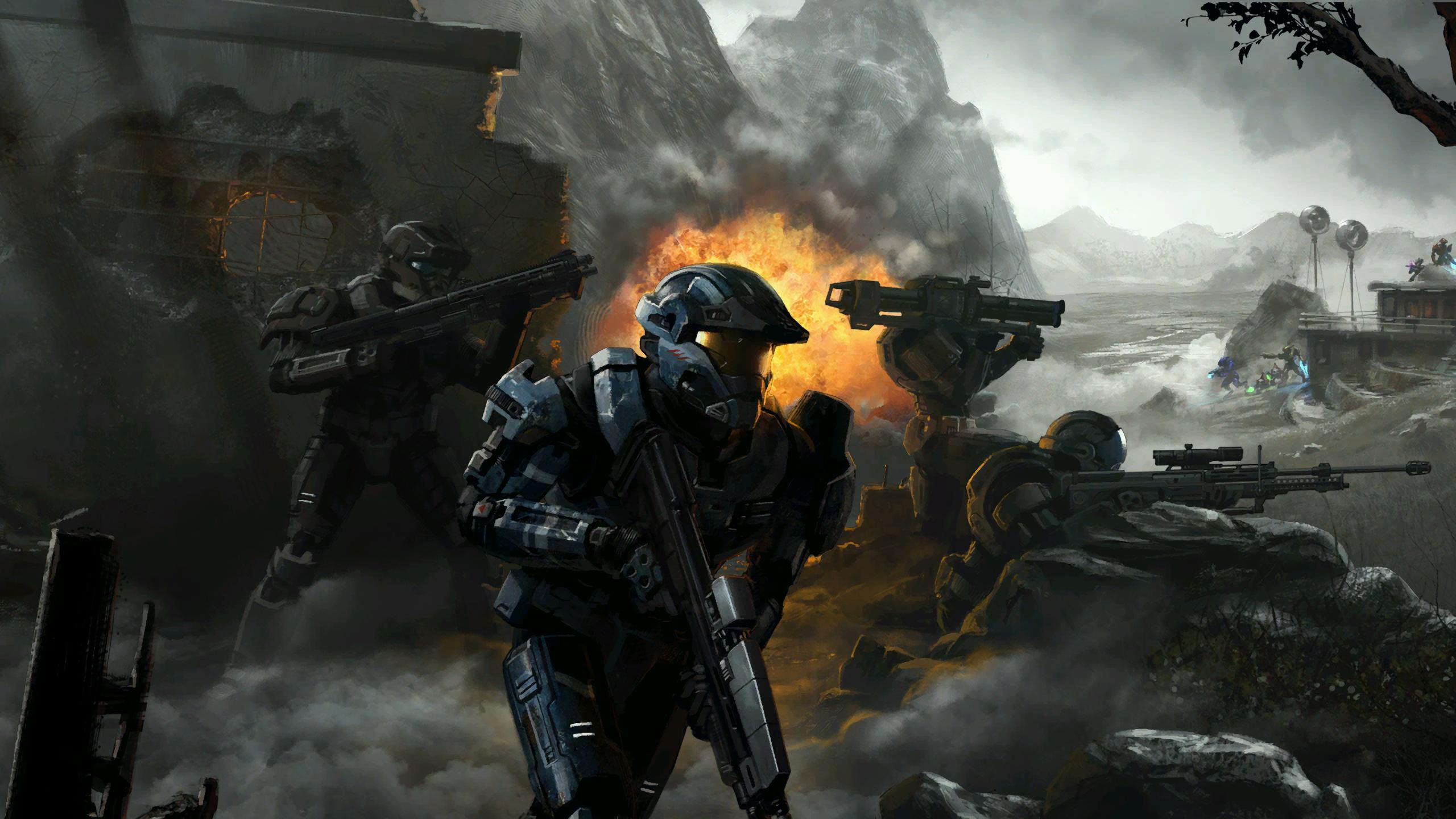 General 2560x1440 Halo Spartans Xbox video game art Halo 3 Halo Reach science fiction Covenant Elite explosion sniper rifle rocket launchers shotgun combat firefight