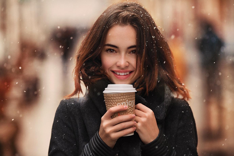 People 1382x922 brunette snow smiling women outdoors Stas Pushkarev black coat Lidia Savoderova women