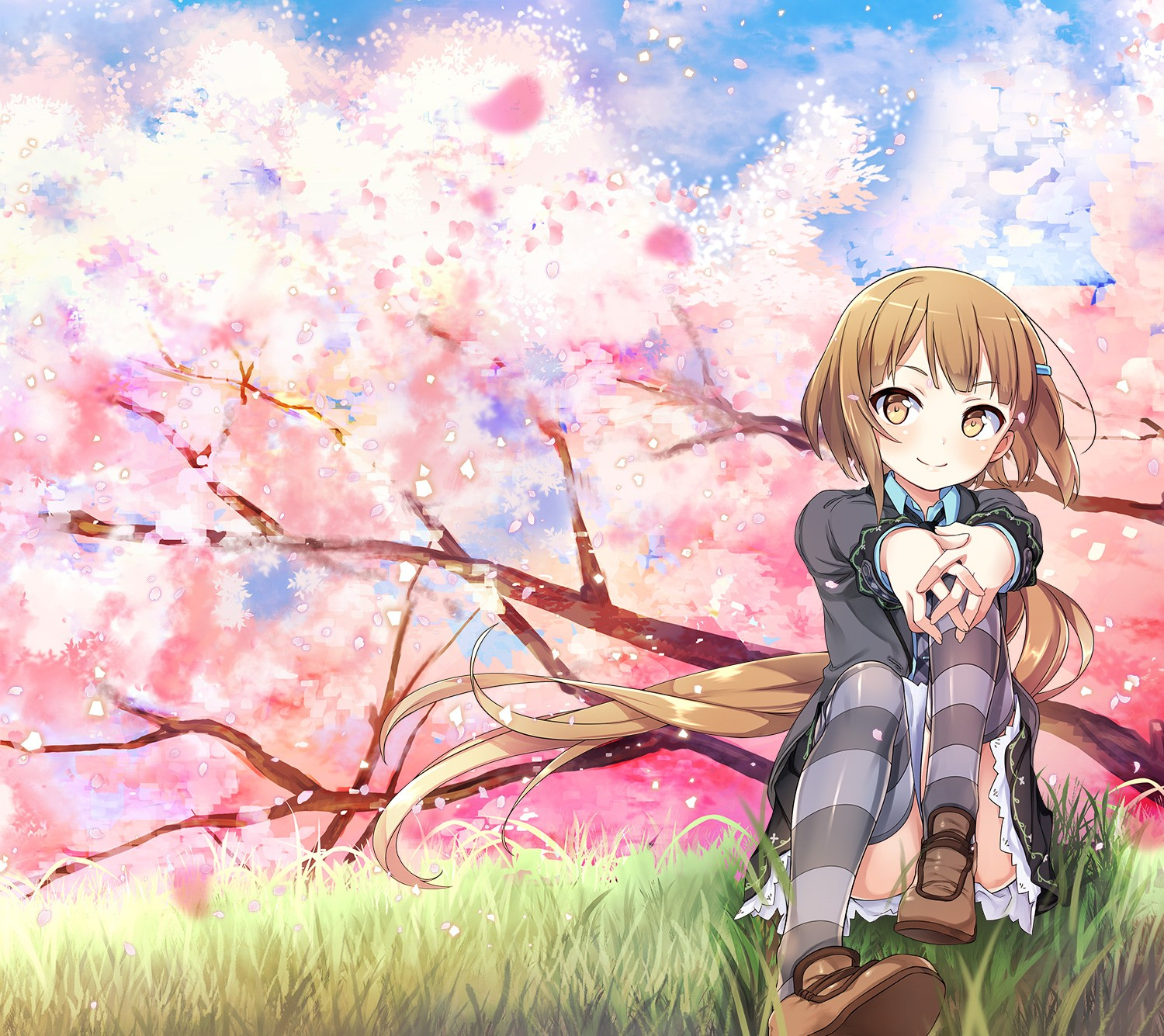 Anime 1500x1335 anime girls anime cherry blossom purple