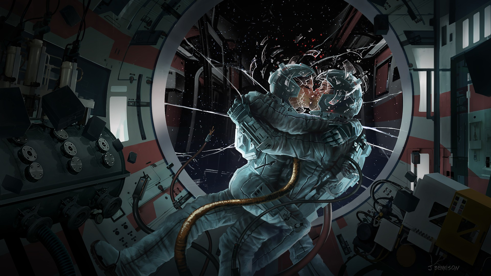 General 1920x1080 space window space suit stars artwork astronaut