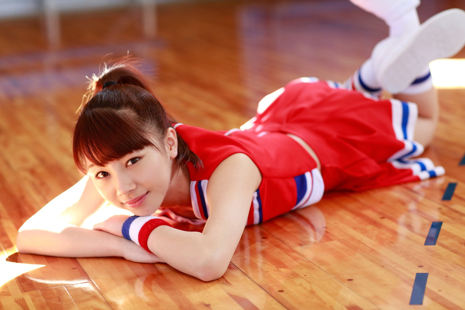 People 1800x1200 Morning Musume Ishida Ayumi Asian J-pop women fetish redhead auburn hair brown eyes lying on front feet in the air
