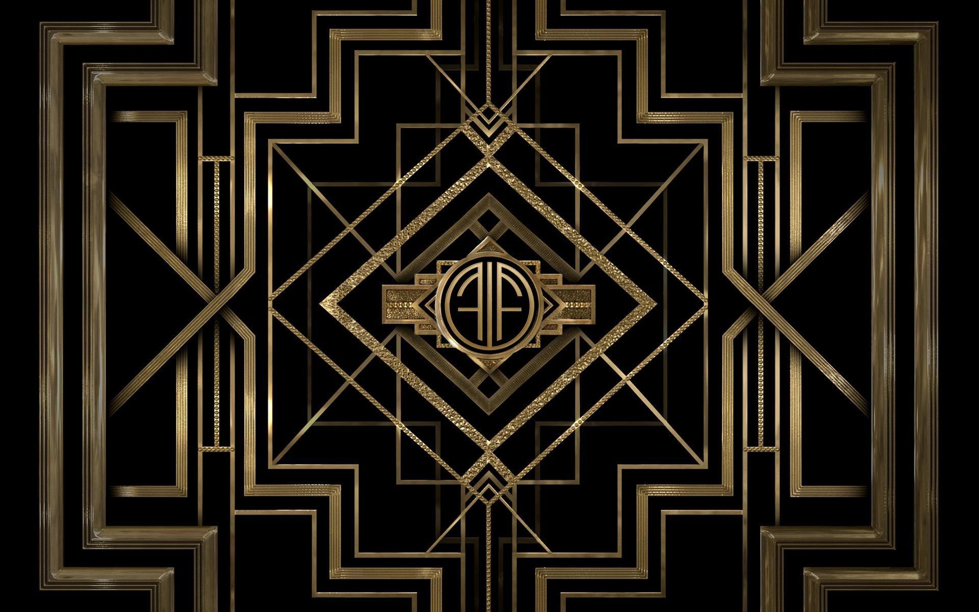 General 1920x1200 minimalism pattern digital art black gold The Great Gatsby Art Deco movie poster