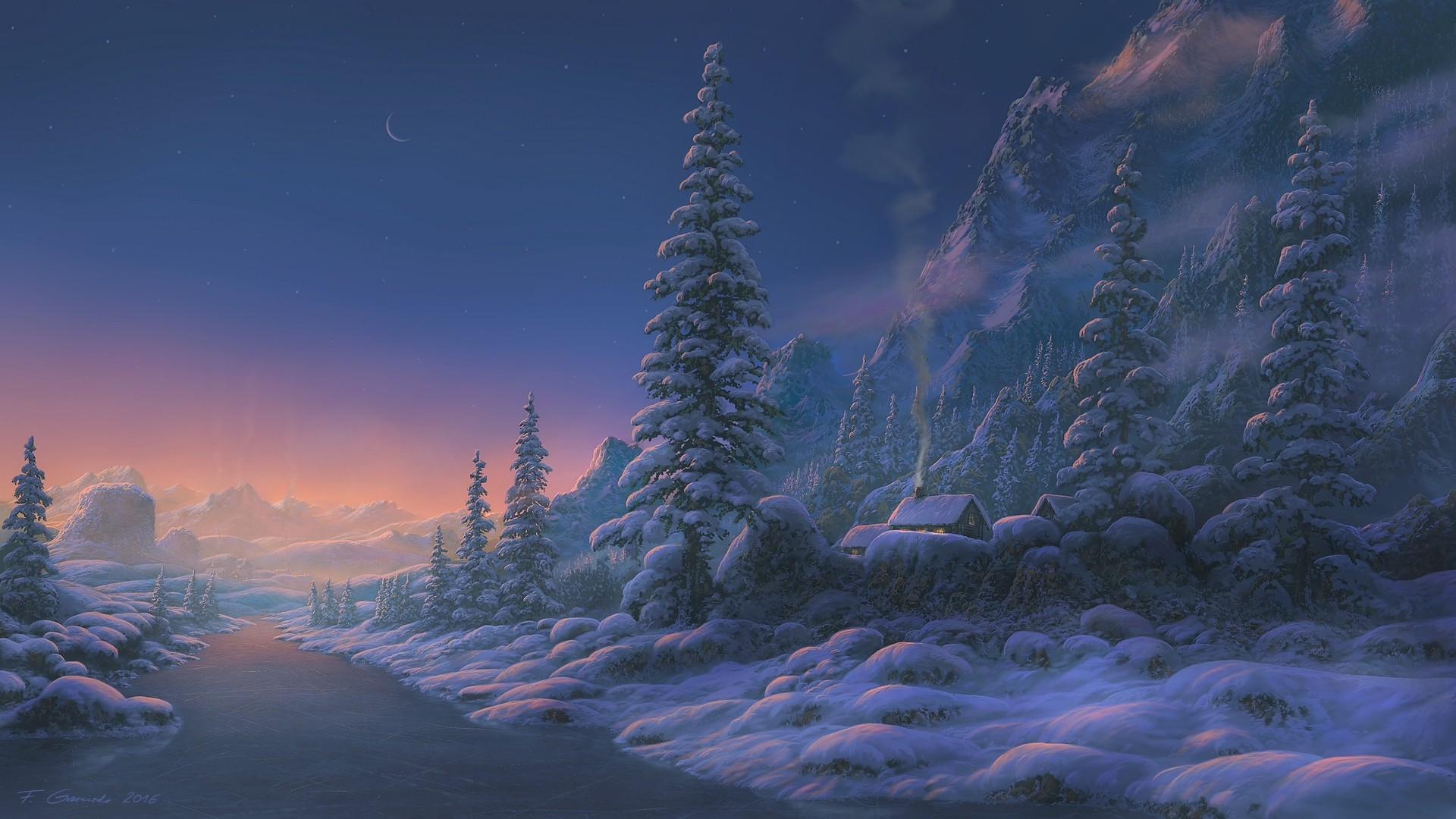 General 1920x1080 fantasy art landscape winter 2016 (Year) snow