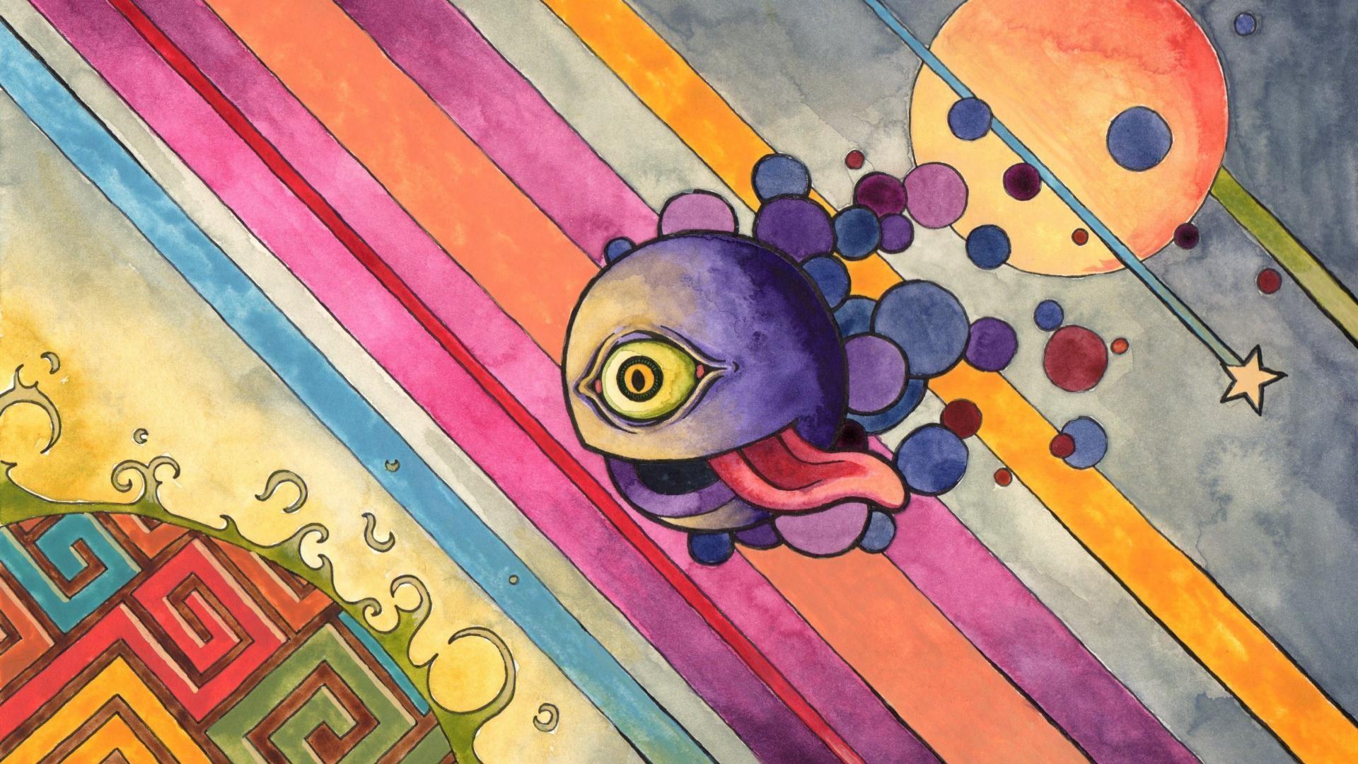 General 1920x1080 colorful digital art abstract lines eyes tongues circle stars psychedelic surreal